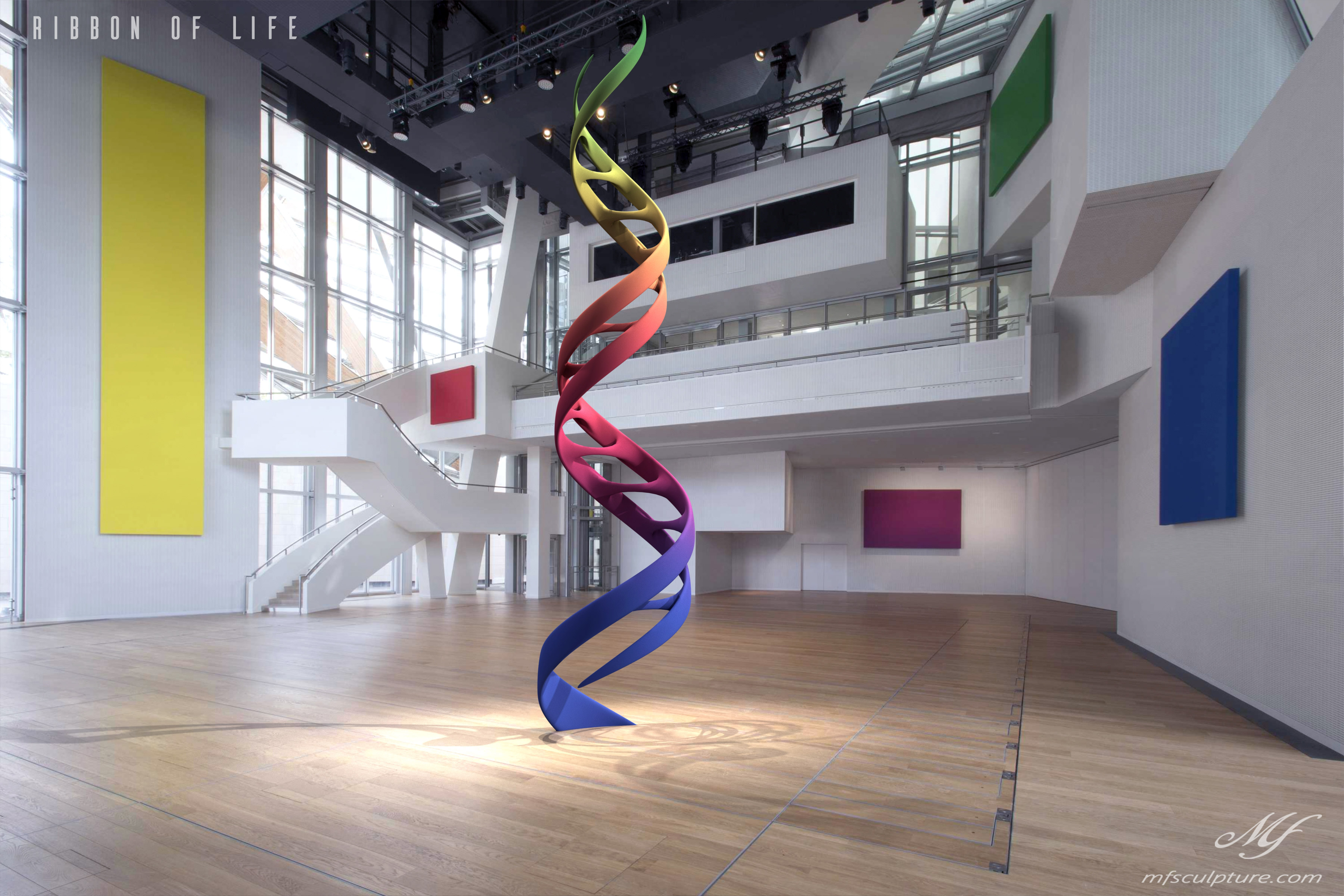 Auditorium Louis vuitton DNA Ribbon of Life Science Contemporary Sculpt Color Panels Red Yellow Blue Green Purple