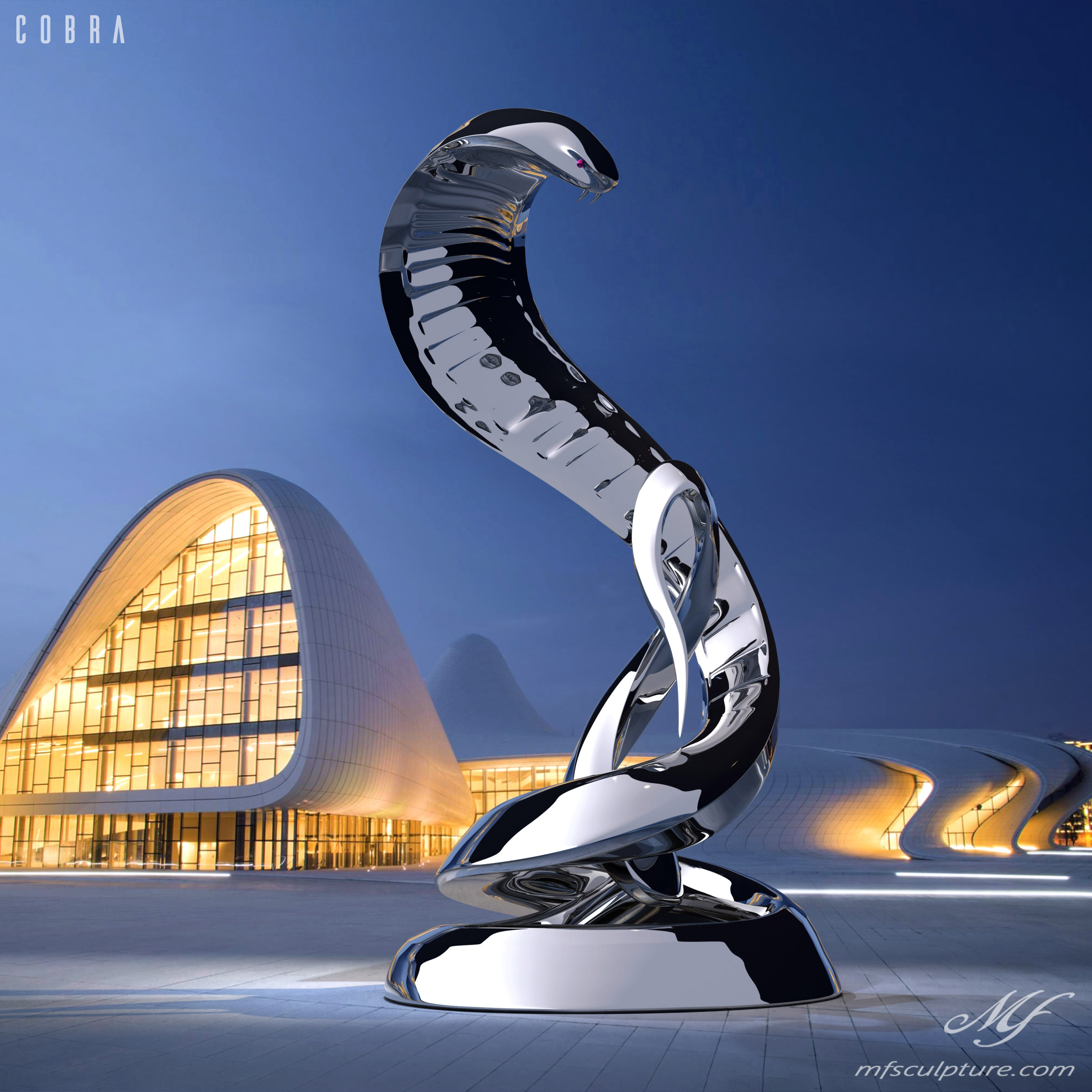 Contemporary Stainless Steel Cobra Sculpture Heydar Aliyev Centre Baku Azerbaijan