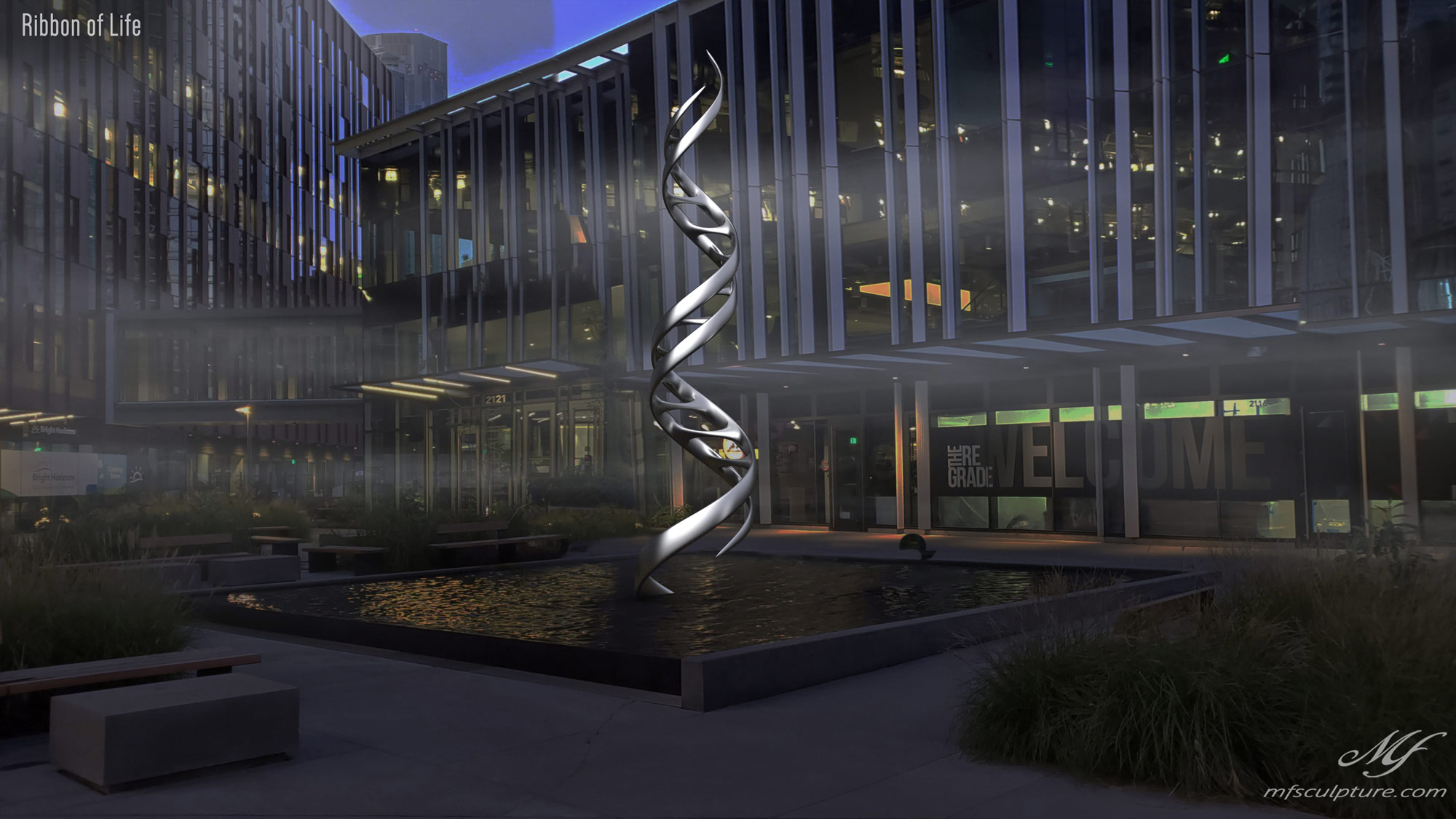 DNA Double Helix Sculpture Contemporary Biology 1