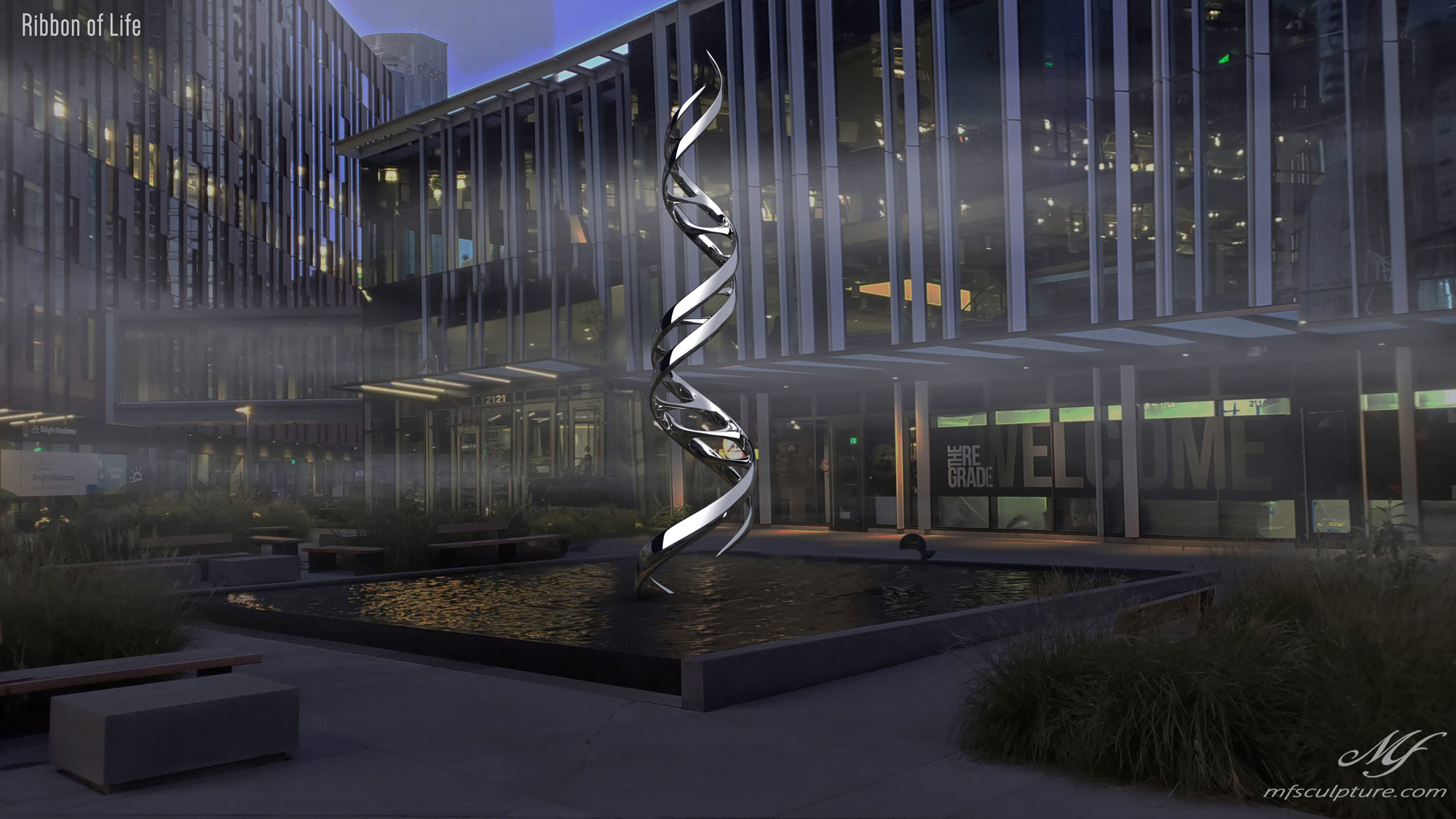 DNA Double Helix Sculpture Contemporary Biology 3