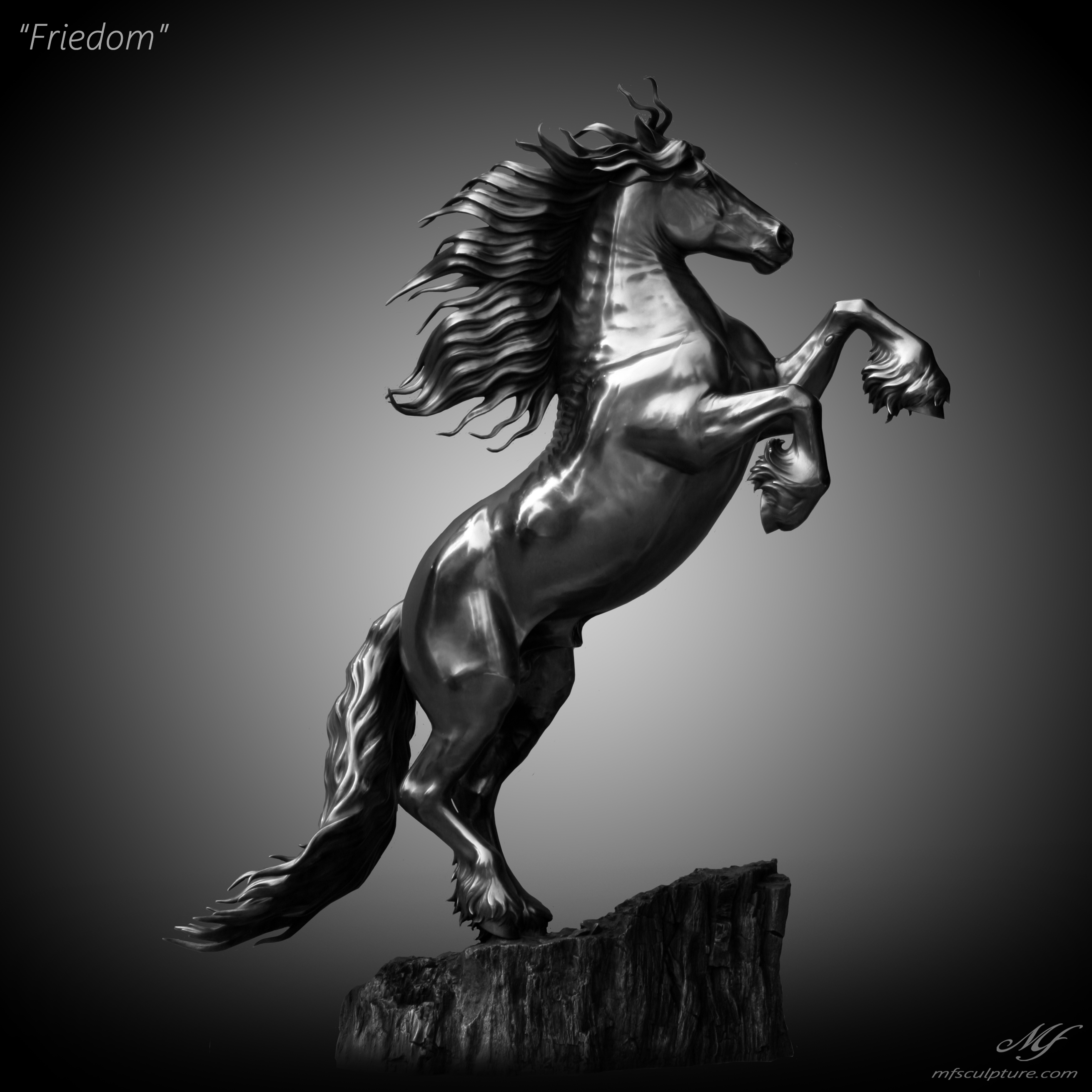 Friesian Horse Sculpture Stallion Baroque Bronze Mike Fields equestrian art 2