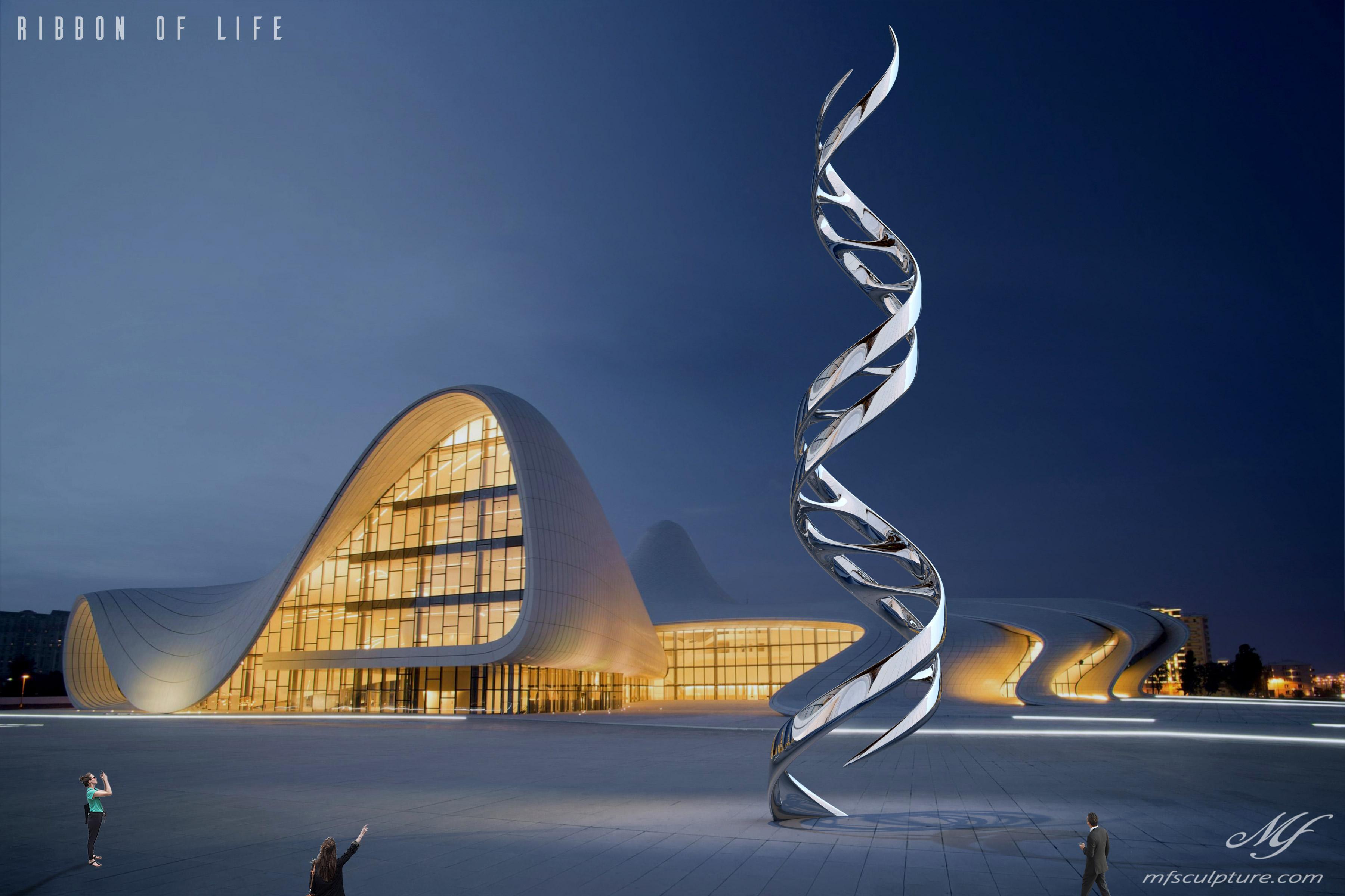 Heydar Aliyev Zaha Hadid Convergence Modern Sculpture Public Art DNA Ribbon of Life Science 2