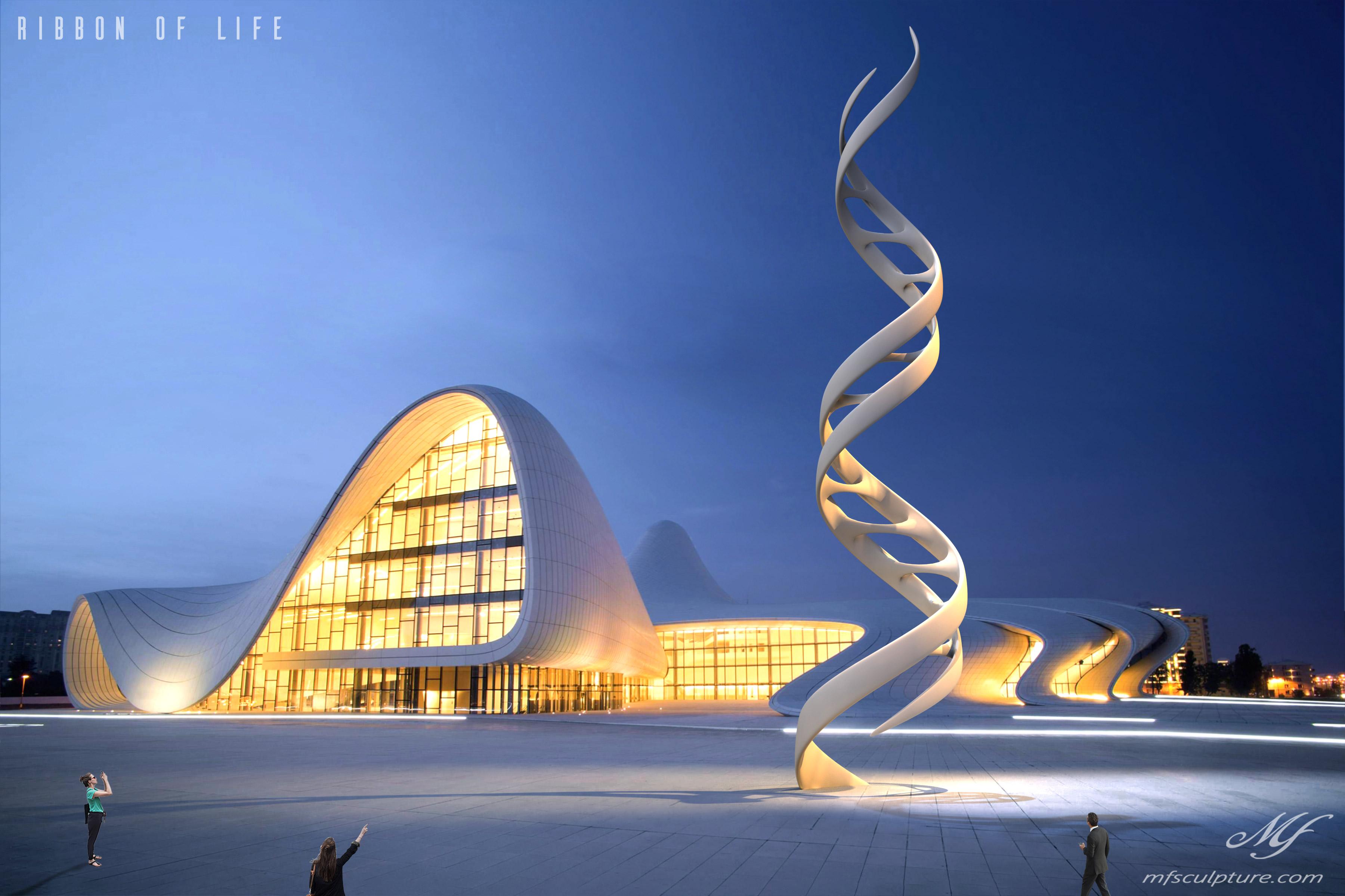 Heydar Aliyev Zaha Hadid Convergence Modern Sculpture Public Art DNA Ribbon of Life Science 3