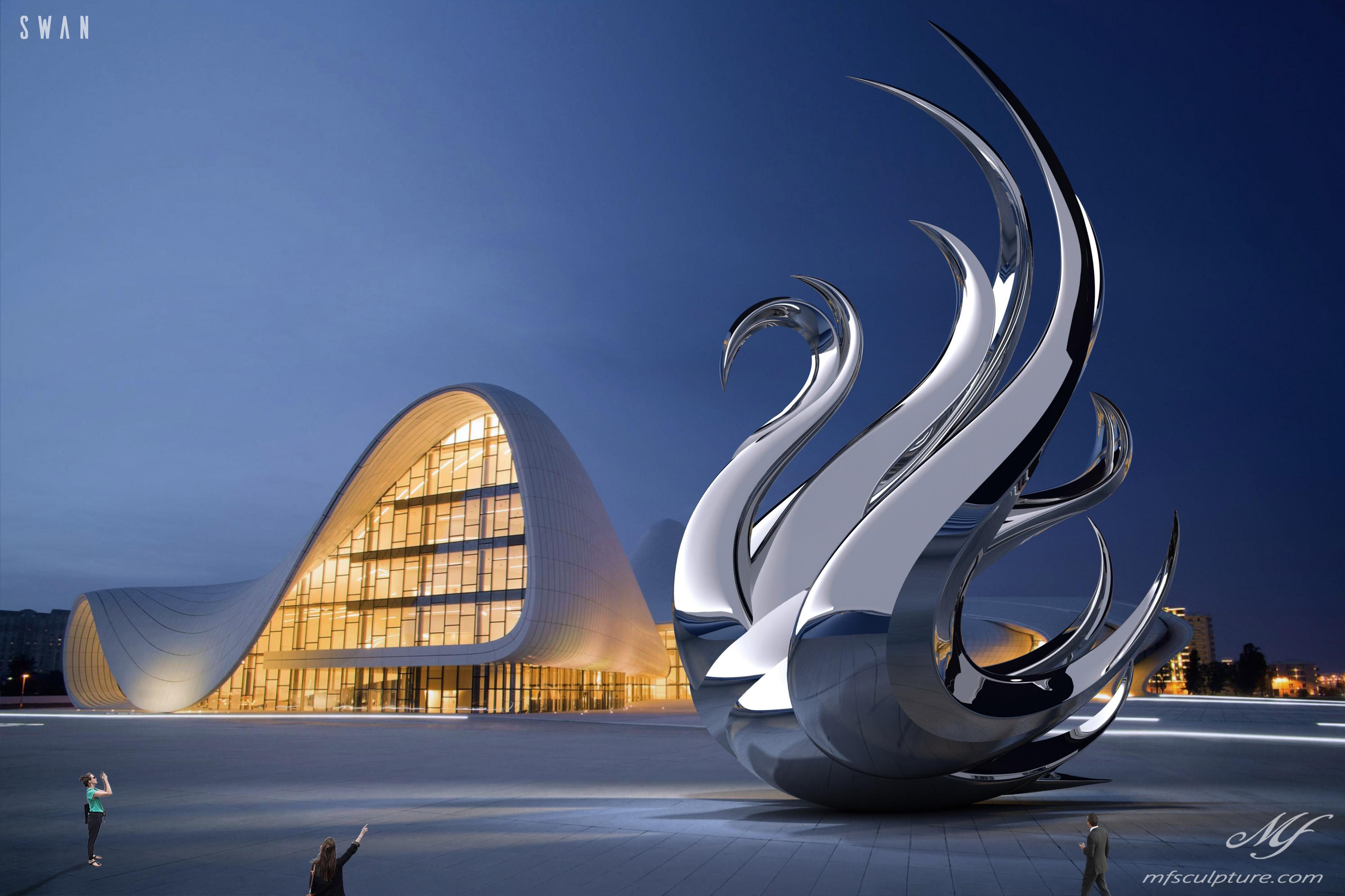 Heydar Aliyev Zaha Hadid Convergence Modern Sculpture Public Art Swan Contemporary 1