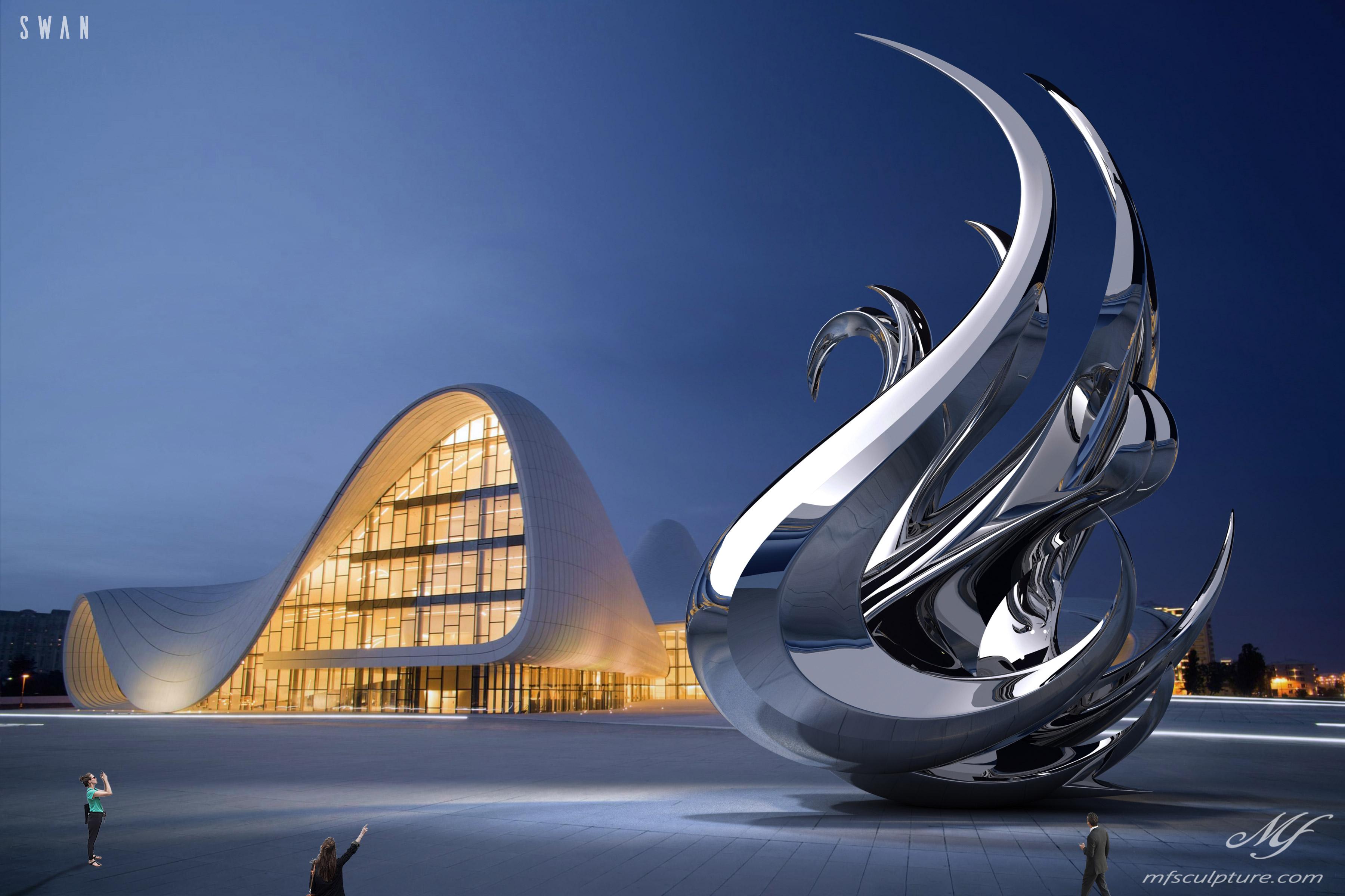Heydar Aliyev Zaha Hadid Convergence Modern Sculpture Public Art Swan Contemporary 6