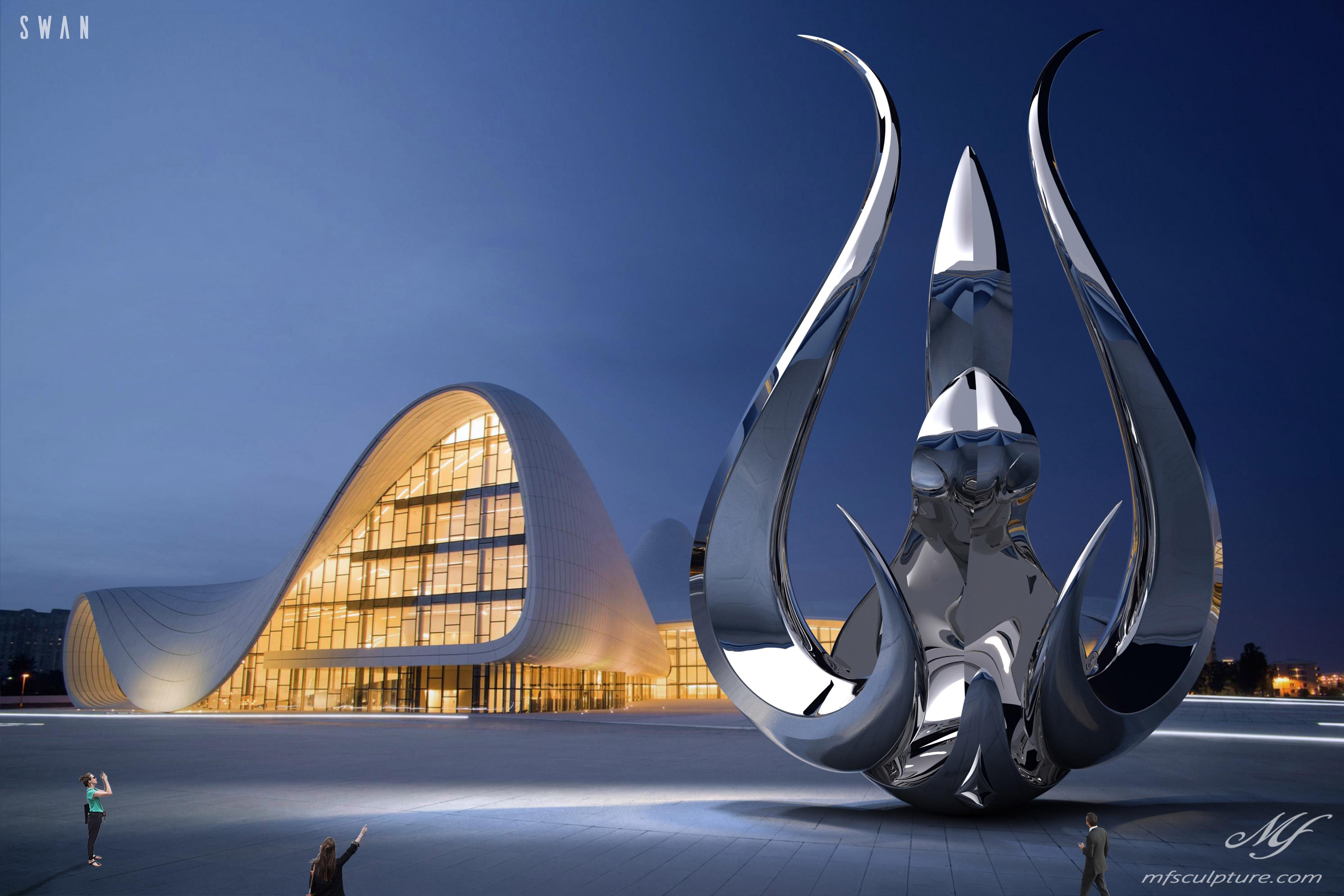 Heydar Aliyev Zaha Hadid Convergence Modern Sculpture Public Art Swan Contemporary 7