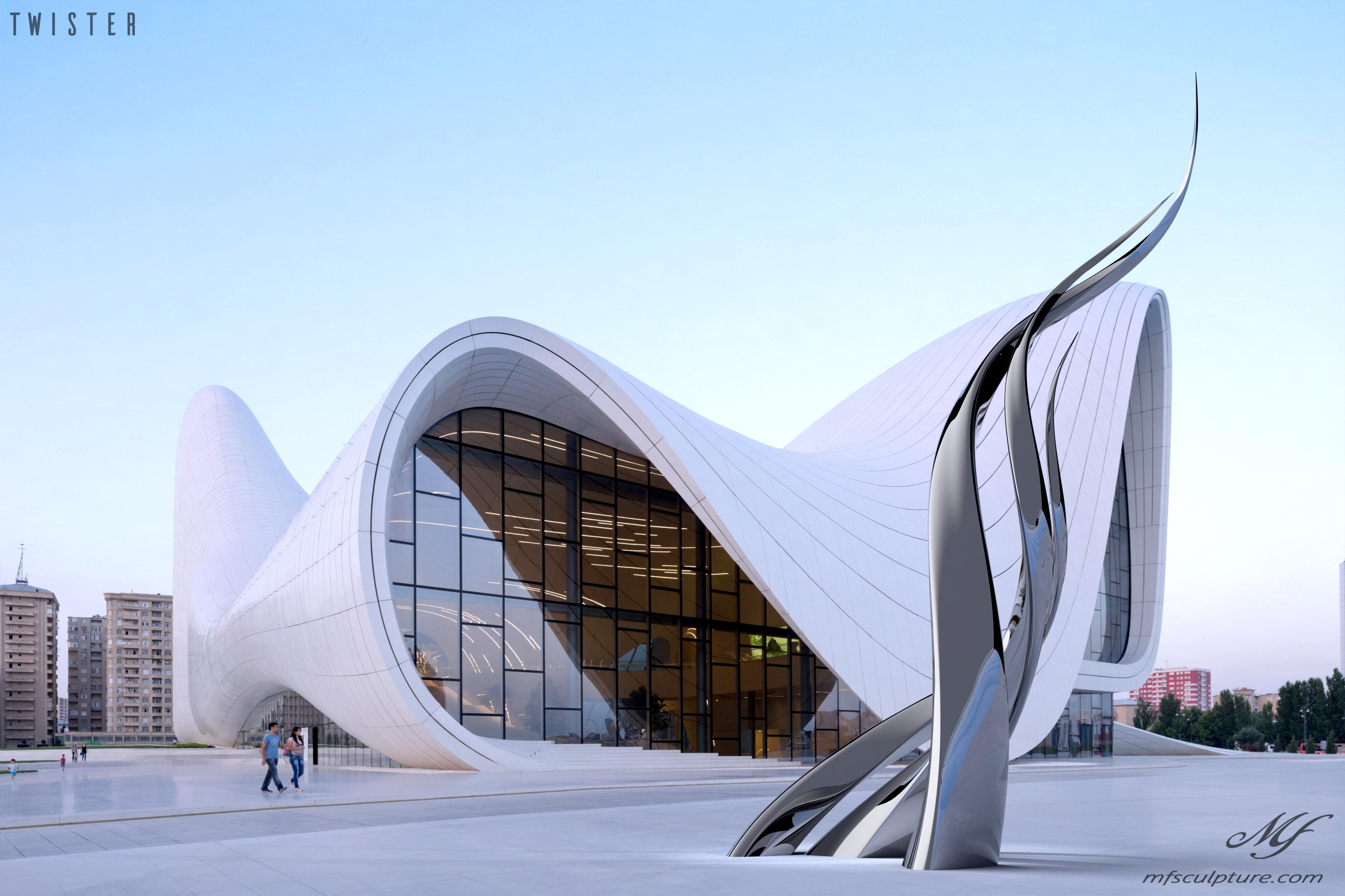 Heydar Aliyev Zaha Hadid Modern Sculpture Public Art Twister 2