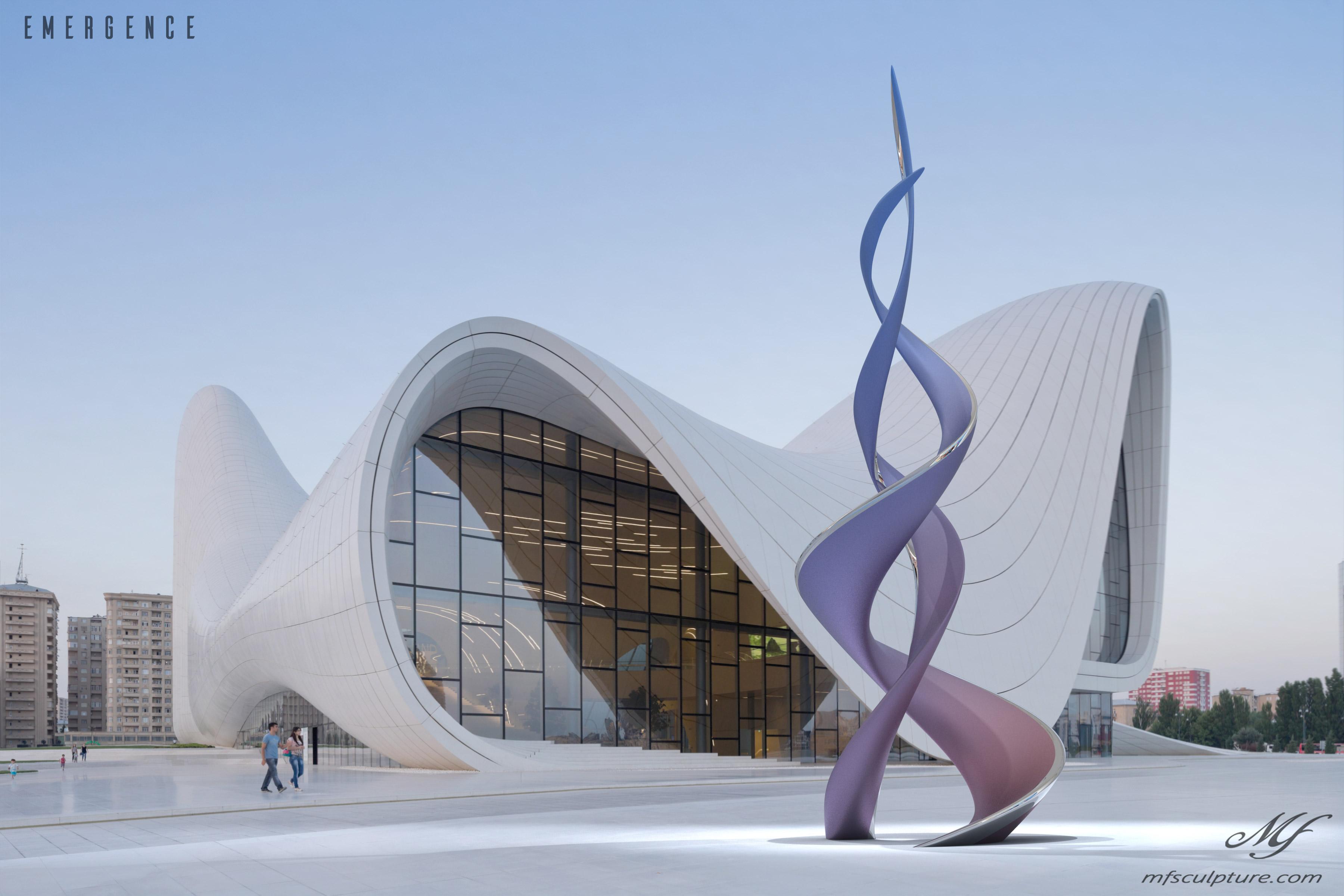 Heydar aliyev center baku zaha hadid Unity Modern Sculpture Emergence Monument 2