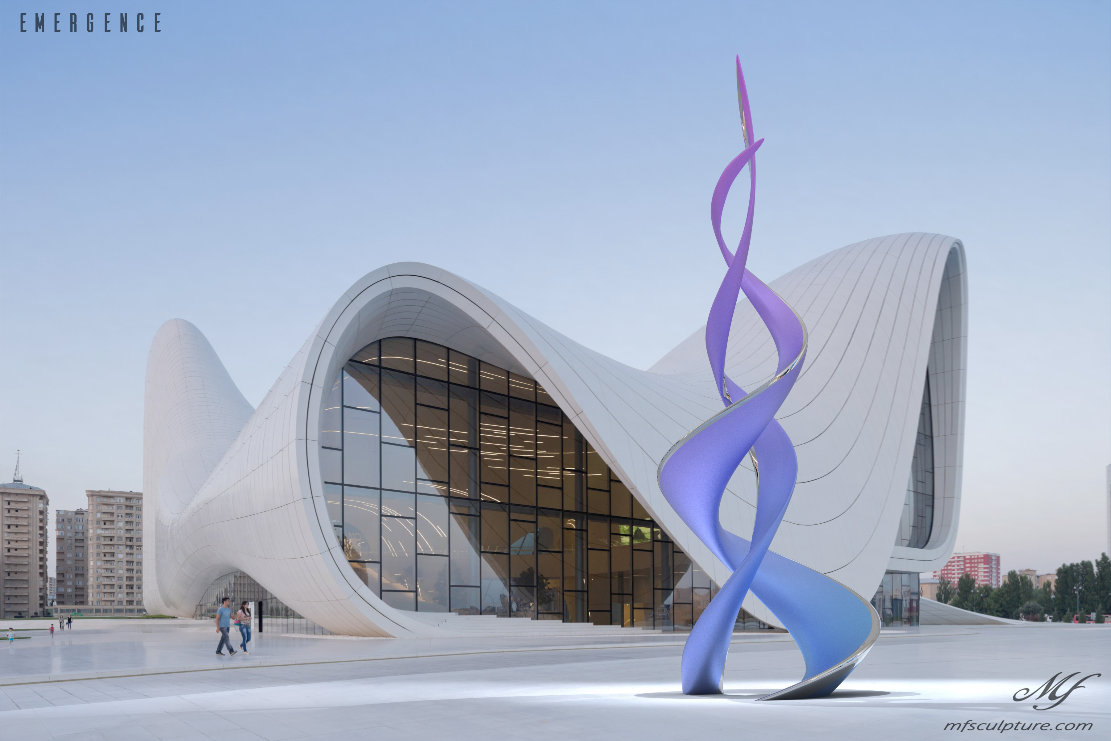 Heydar aliyev center baku zaha hadid Unity Modern Sculpture Emergence Monument 3