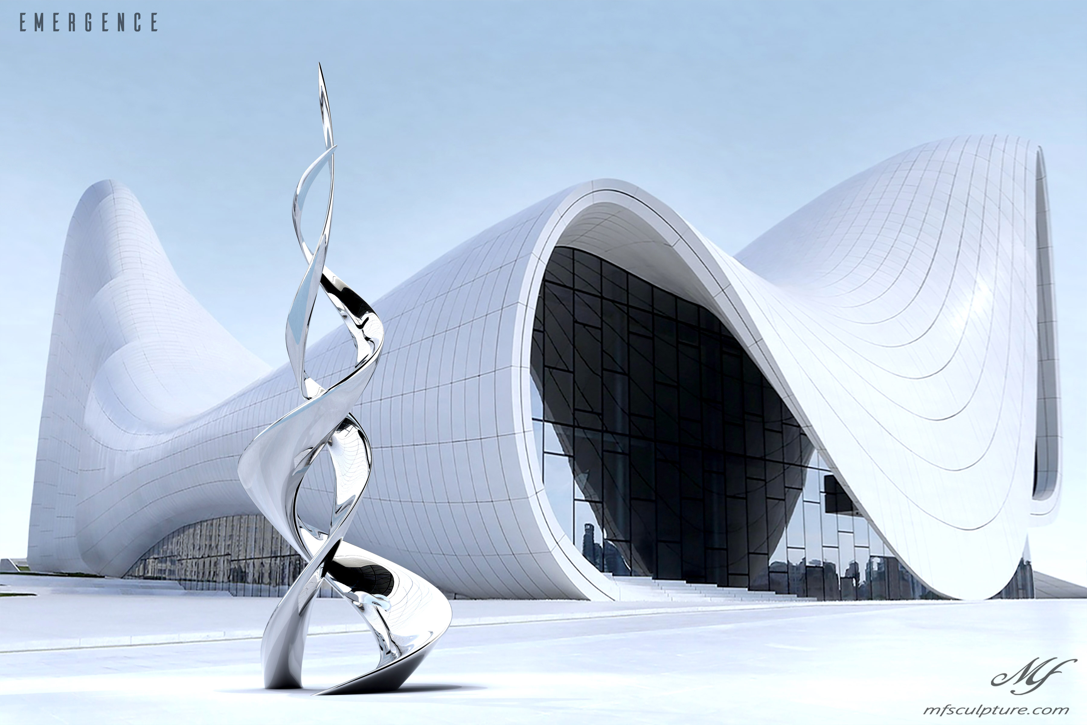 Heydar aliyev center baku zaha hadid Unity Modern Sculpture Emergence Monument 4