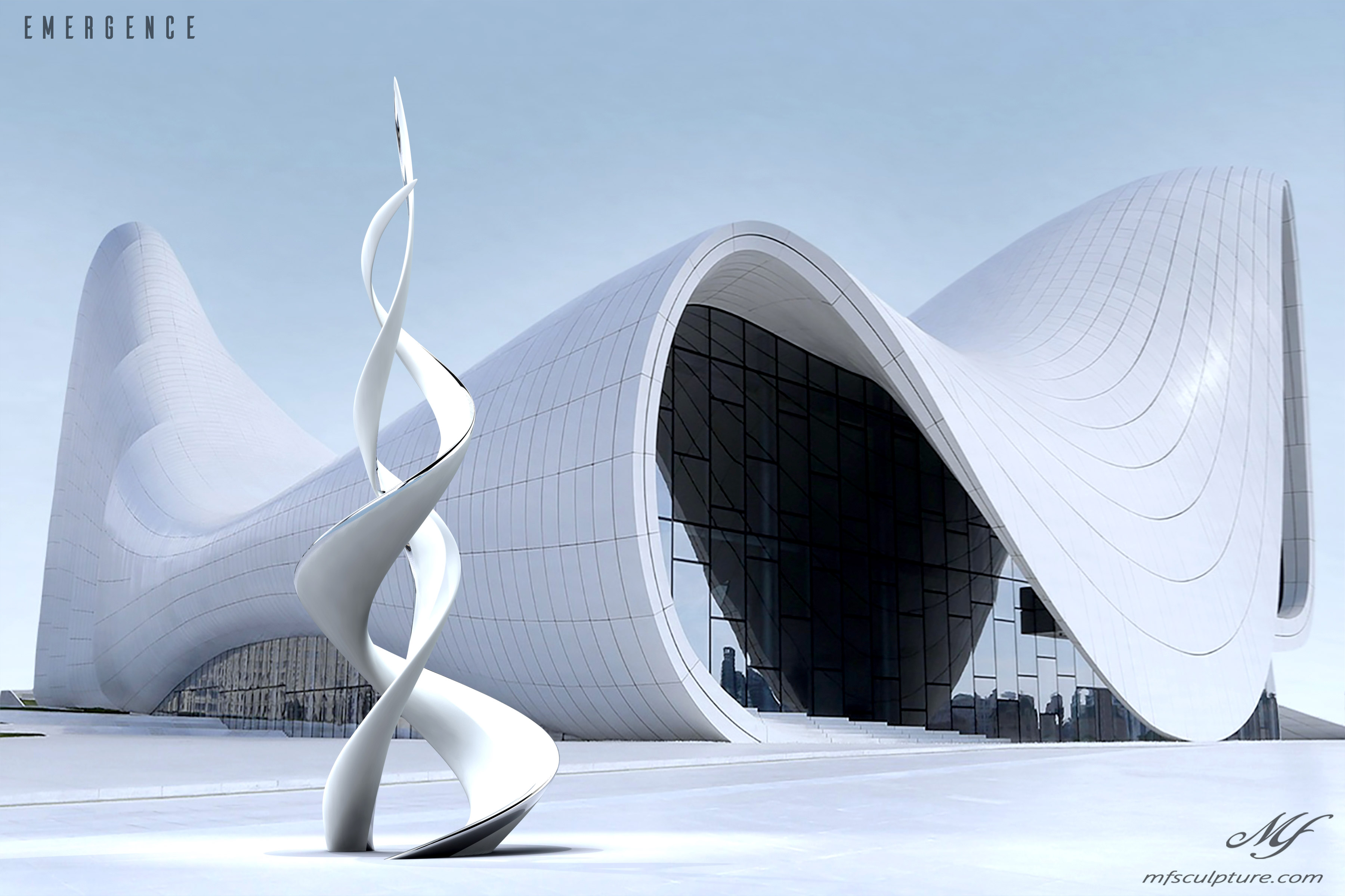Heydar aliyev center baku zaha hadid Unity Modern Sculpture Emergence Monument 5