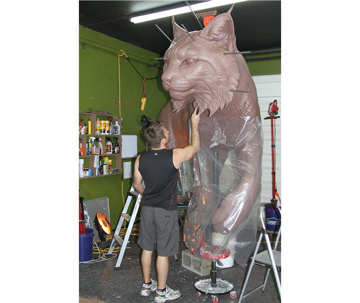 JWU University Wildcat Bronze Mascot Sculpting Clay Bobcat 8