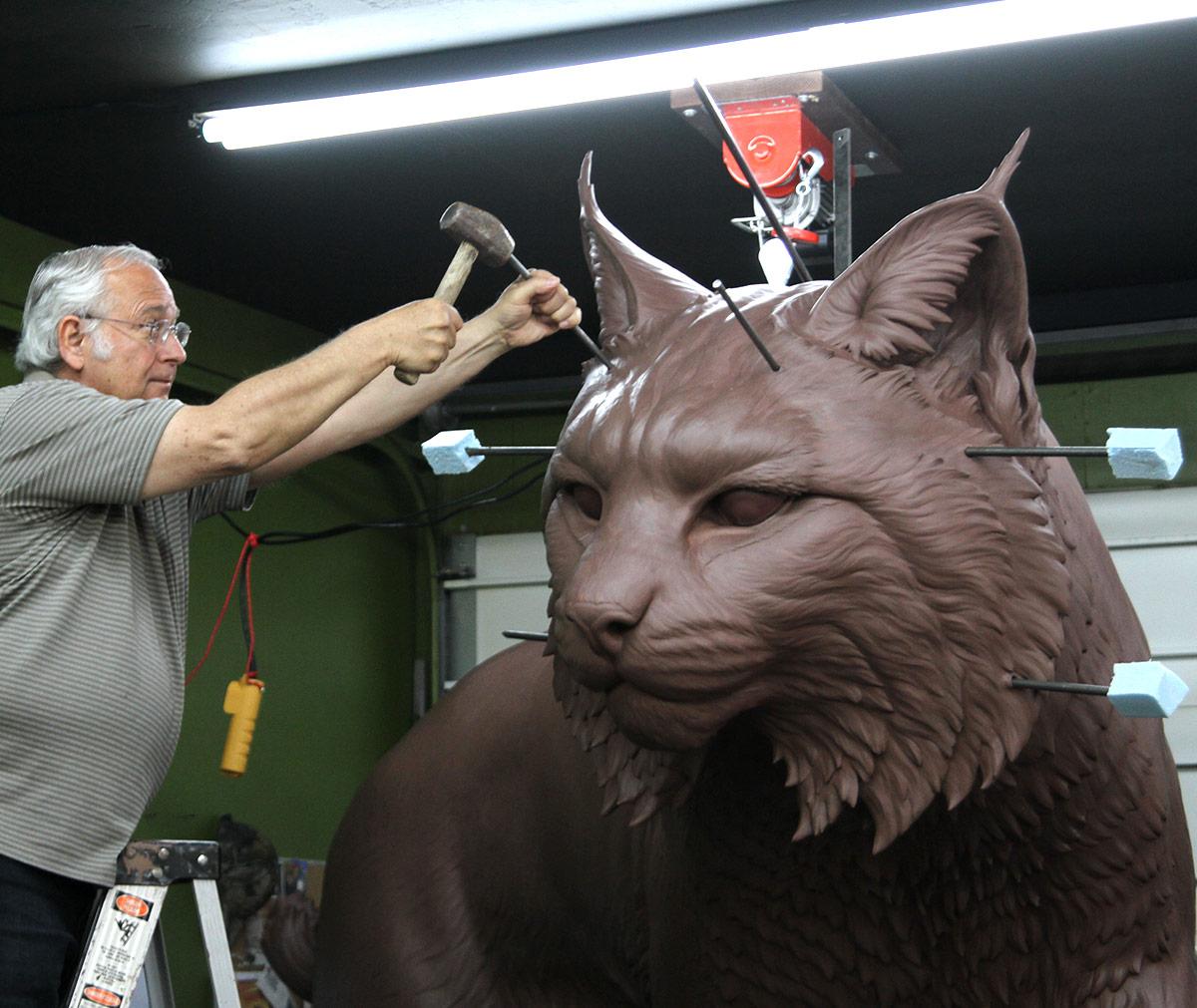 JWU University Wildcat Bronze Mascot Sculpting Clay Bobcat 9