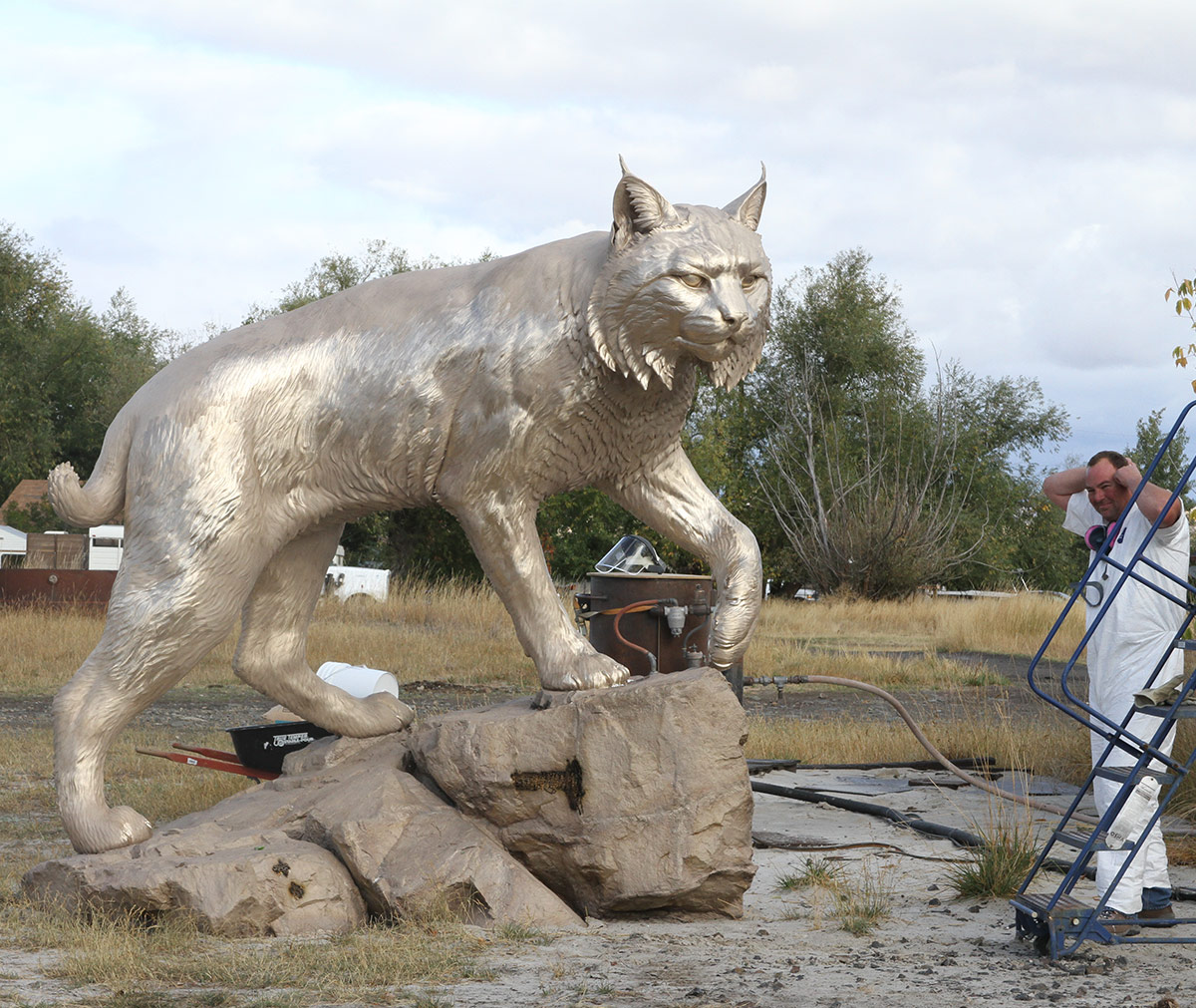 JWU University Wildcat CNC Mascot Lost Wax Investment Casting Bobcat Sandblasting 3