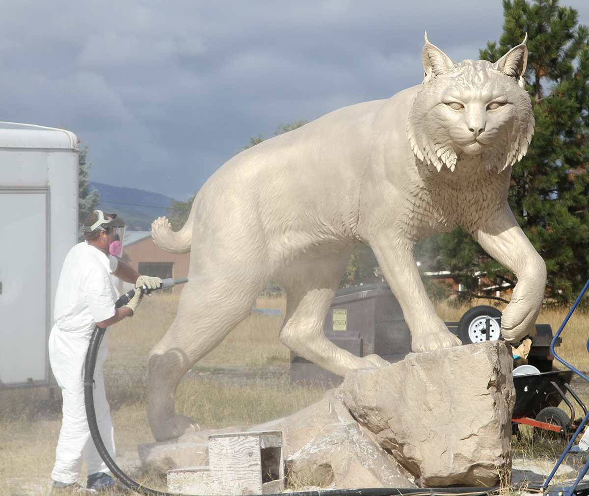 JWU University Wildcat CNC Mascot Lost Wax Investment Casting Bobcat Sandblasting 5