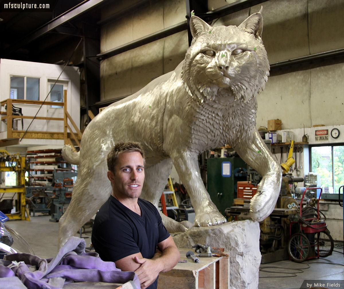 JWU University Wildcat Mascot Lost Wax Investment Casting Bobcat Monument 15