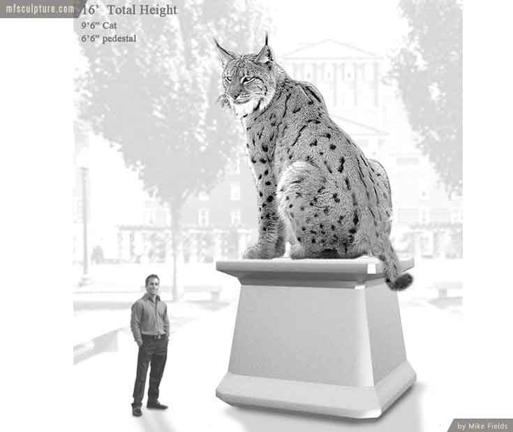 Johnson Wales University Wildcat Bobcat Mascot Monument Sketch n1