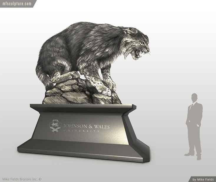 Johnson Wales University Wildcat Bobcat Mascot Monument Sketch n2
