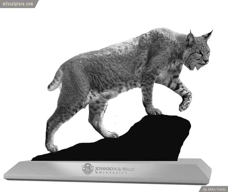 Johnson Wales University Wildcat Bobcat Mascot Monument Sketch n6