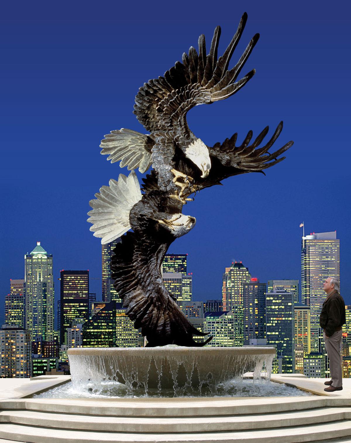 Majestic Courtship Eagle Sculpture Monument