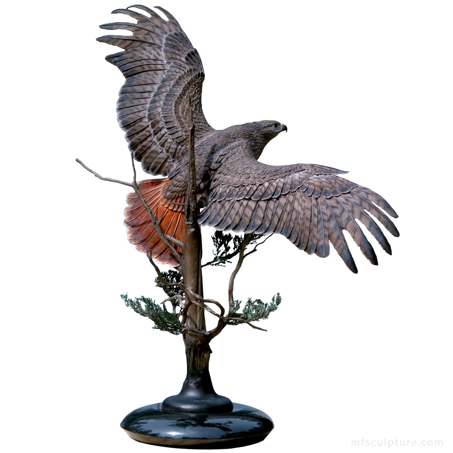 Sovereign Skies Bronze Red Tailed Hawk Sculpture Statue