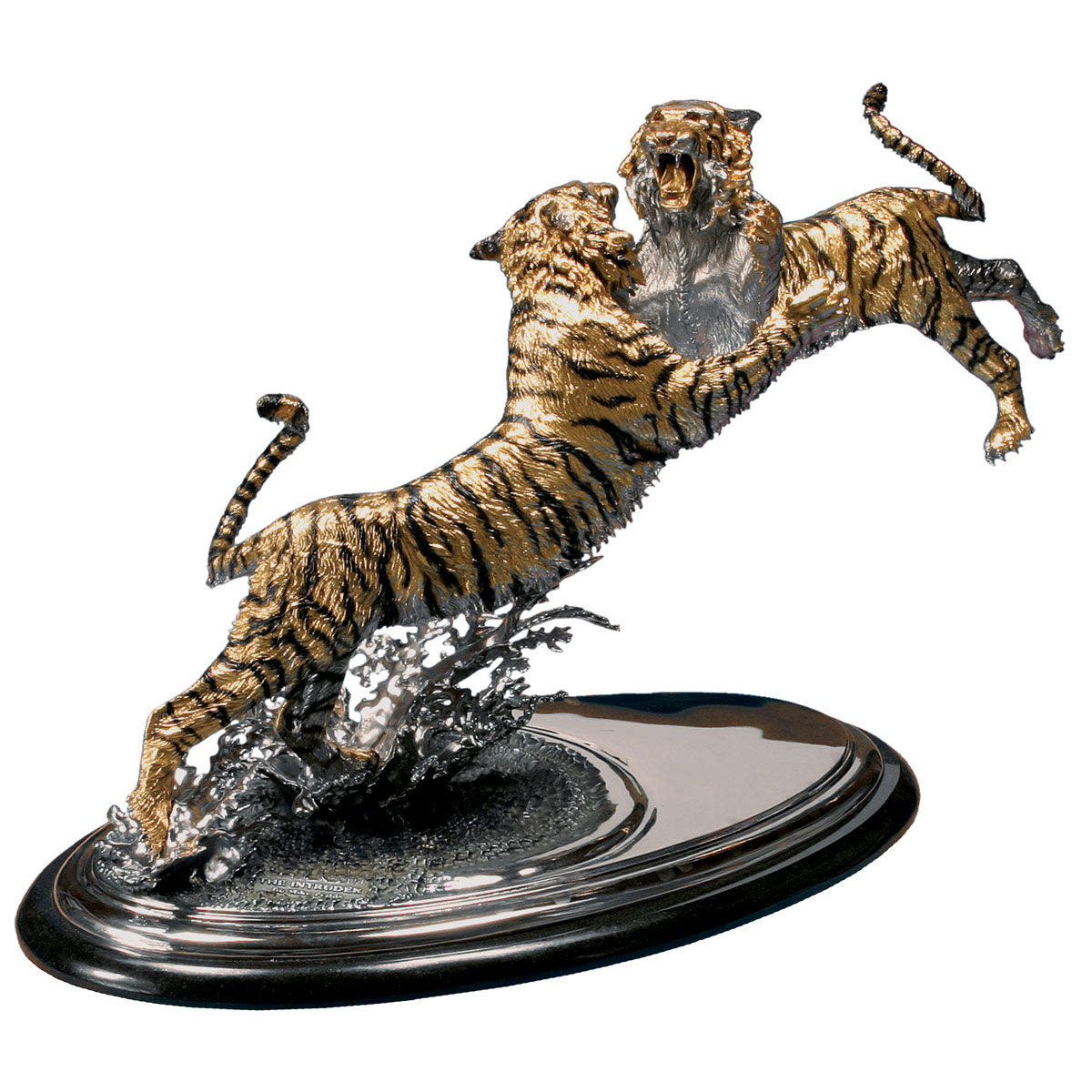The Intruder Gold Bronze Bengal Tiger Sculpture Art
