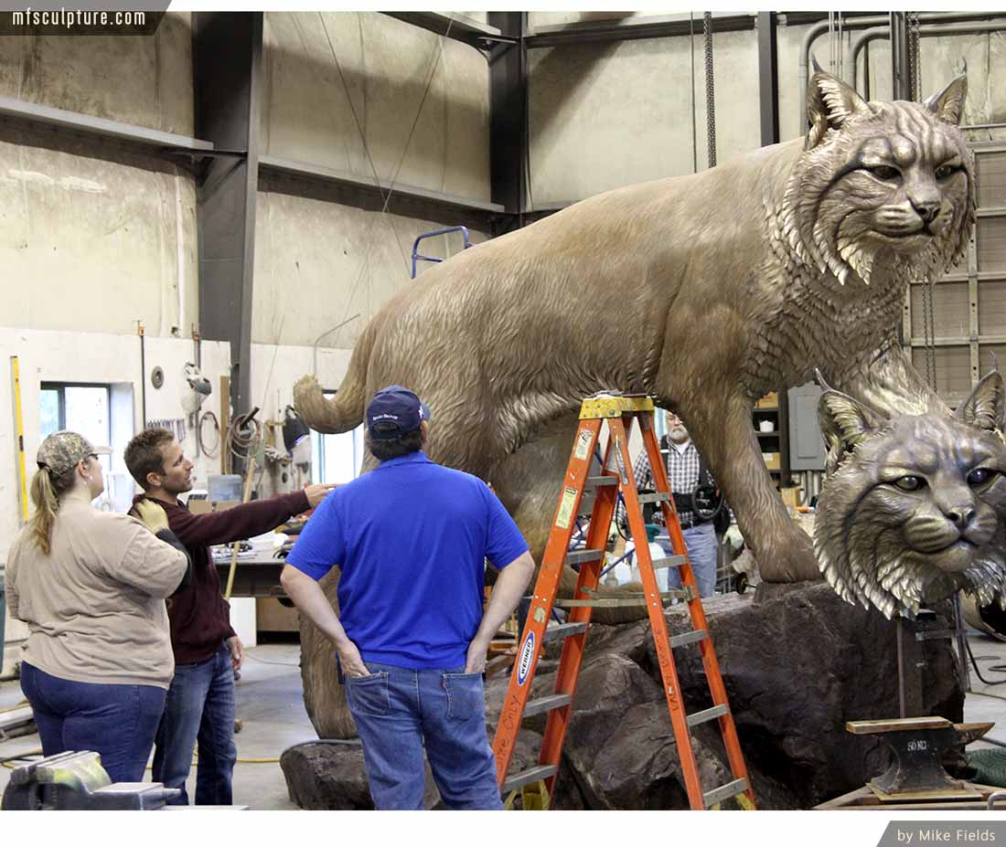University Wildcat Bronze Mascot Bobcat JWU Sculpture 10