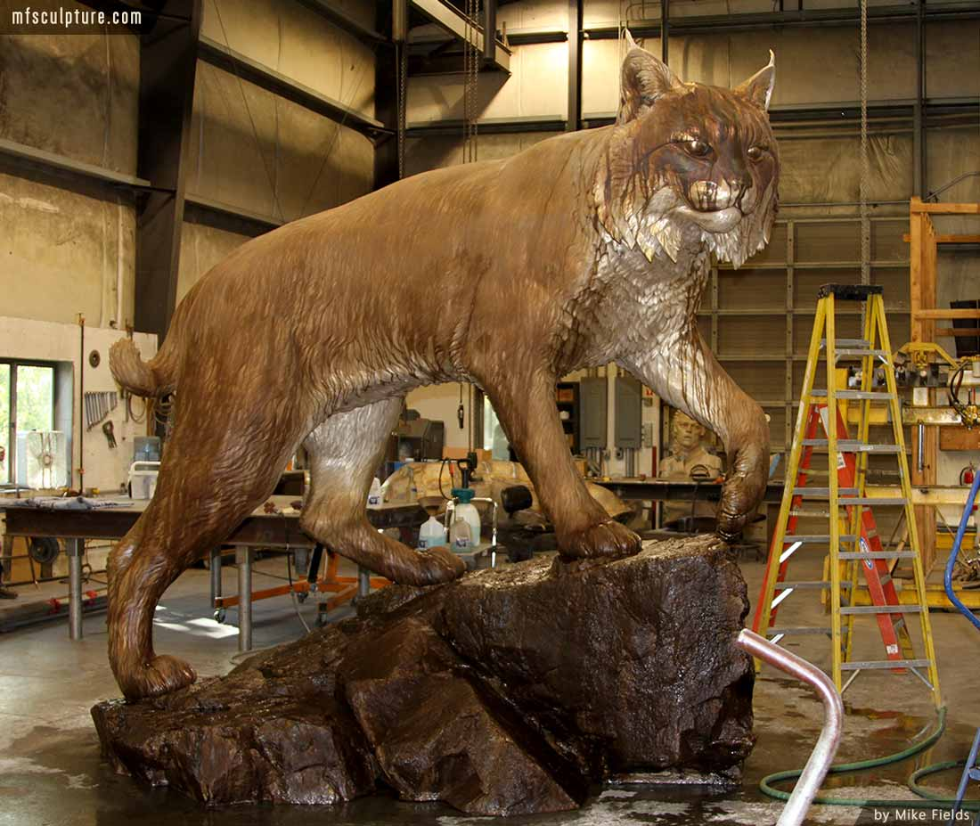 University Wildcat Bronze Mascot Bobcat JWU Sculpture 11