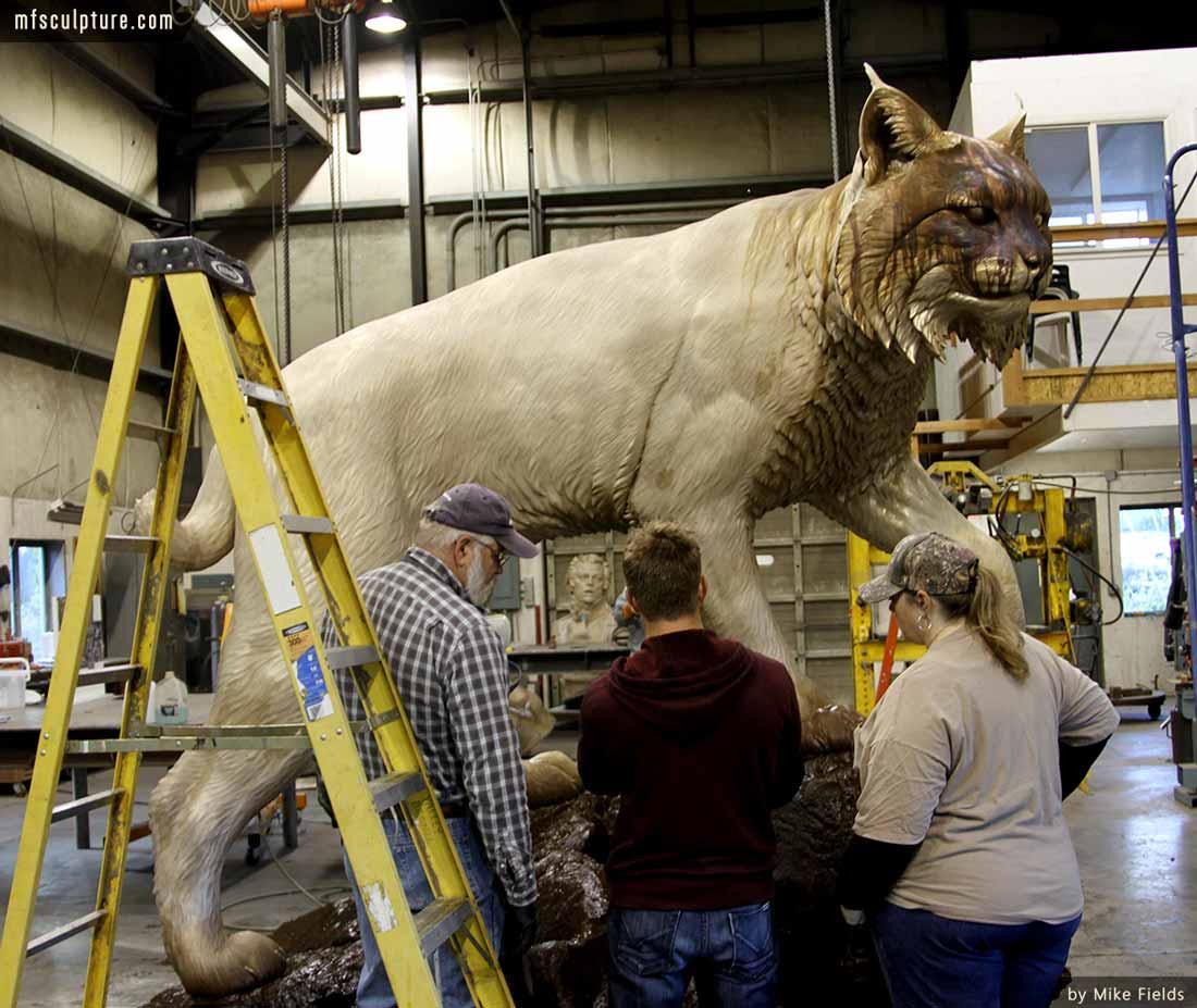 University Wildcat Bronze Mascot Bobcat JWU Sculpture 12