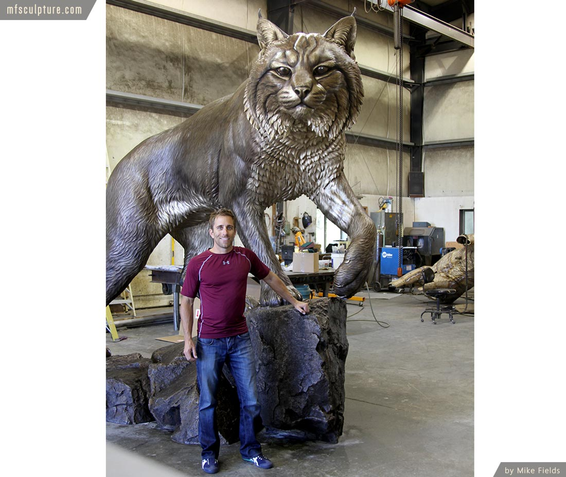 University Wildcat Bronze Mascot Bobcat JWU Sculpture 13