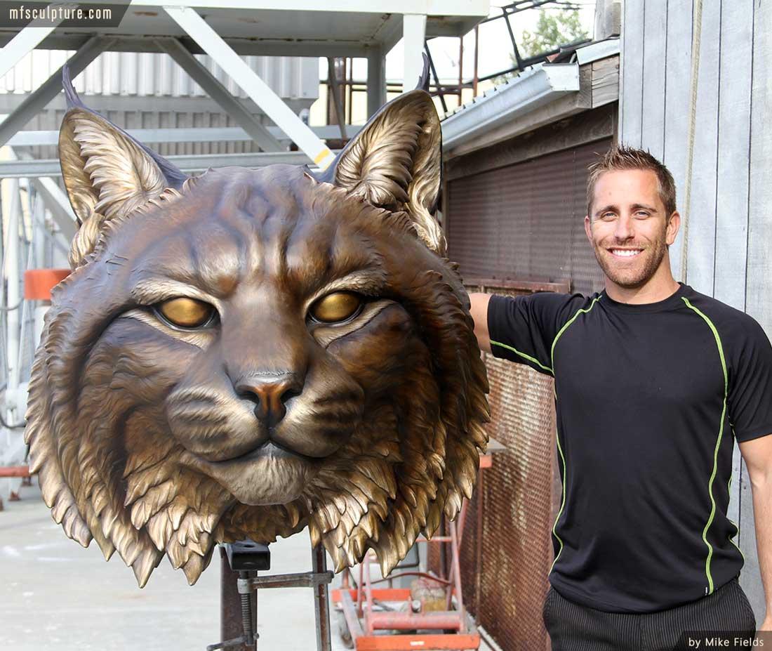 University Wildcat Bronze Mascot Bobcat JWU Sculpture 15