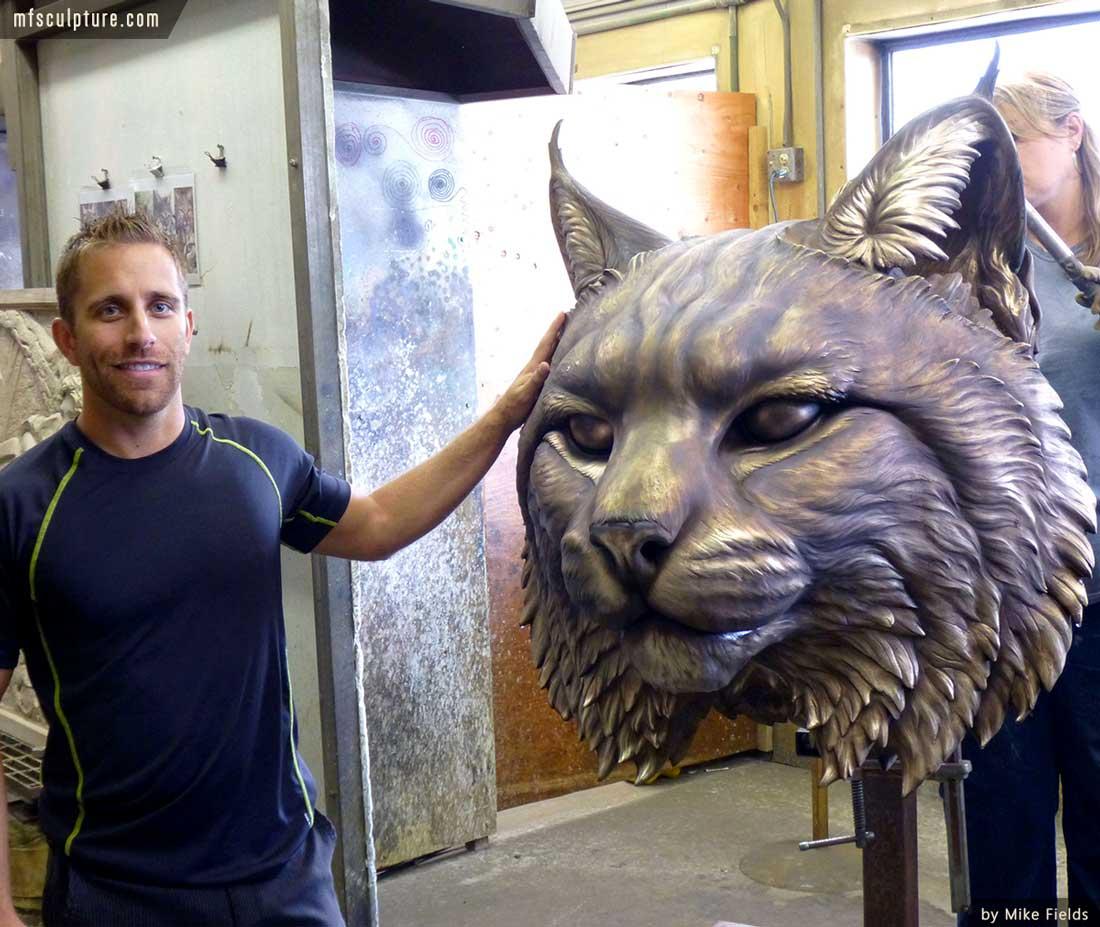 University Wildcat Bronze Mascot Bobcat JWU Sculpture 16