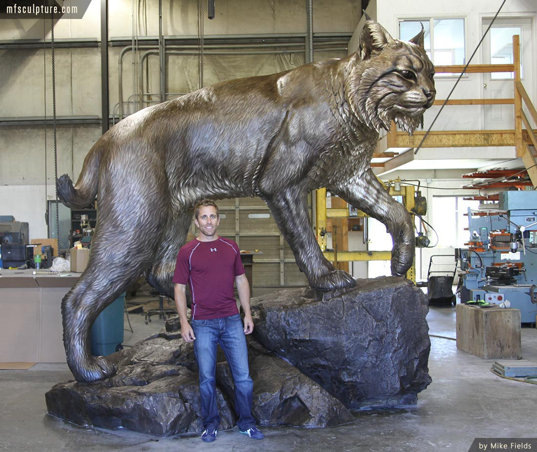University Wildcat Bronze Mascot Bobcat JWU Sculpture 2