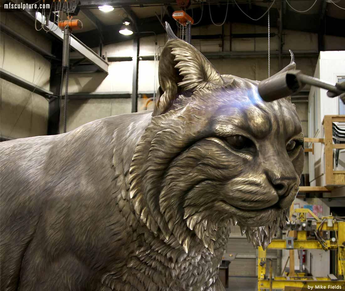 University Wildcat Bronze Mascot Bobcat JWU Sculpture 5