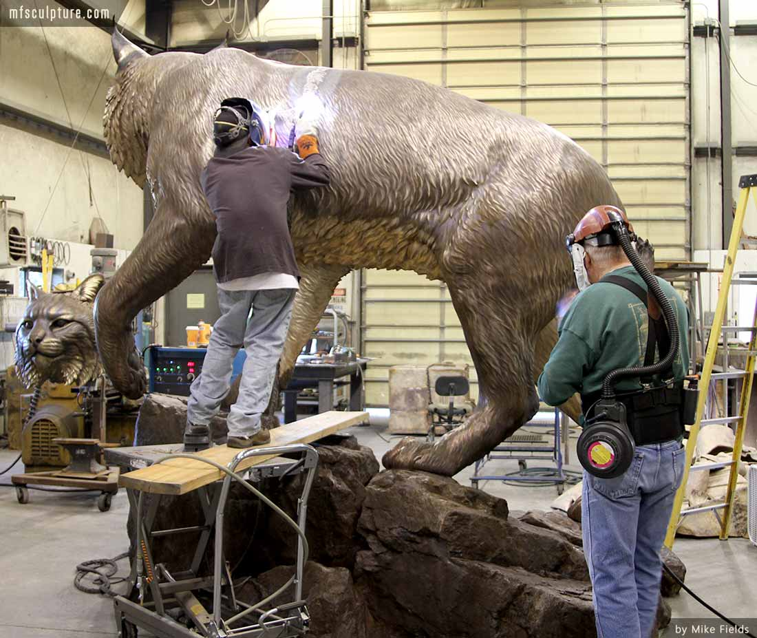 University Wildcat Bronze Mascot Bobcat JWU Sculpture 9