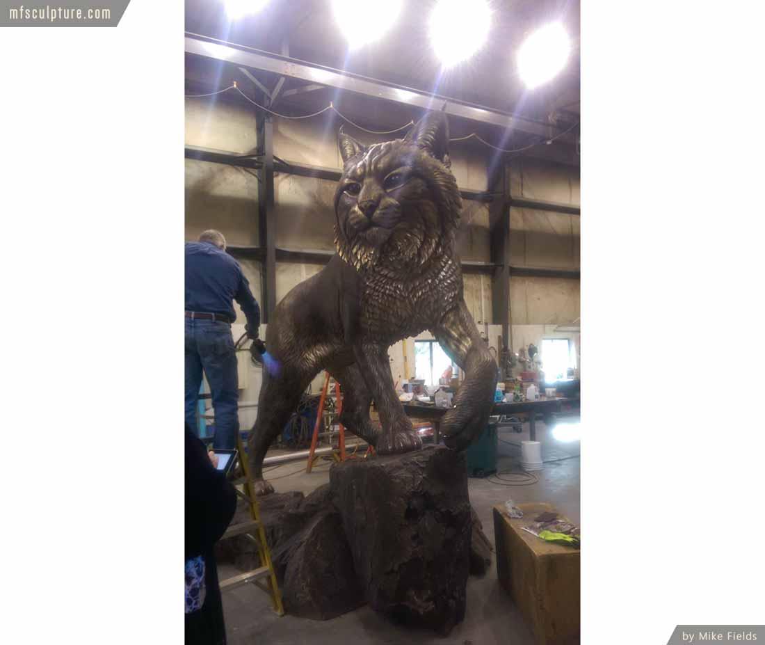 University Wildcat Bronze Mascot Bobcat JWU Sculpture