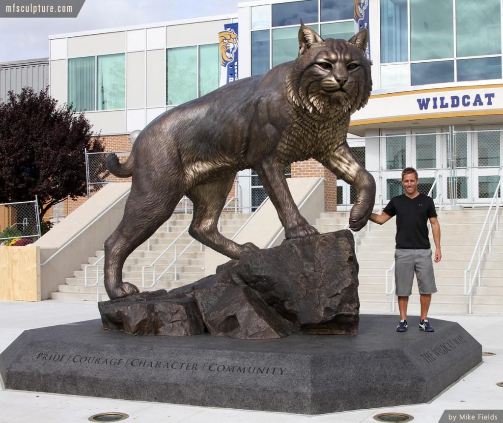 Wildcat Sculpture University Monument Mascot Mike Fields Stadium 2