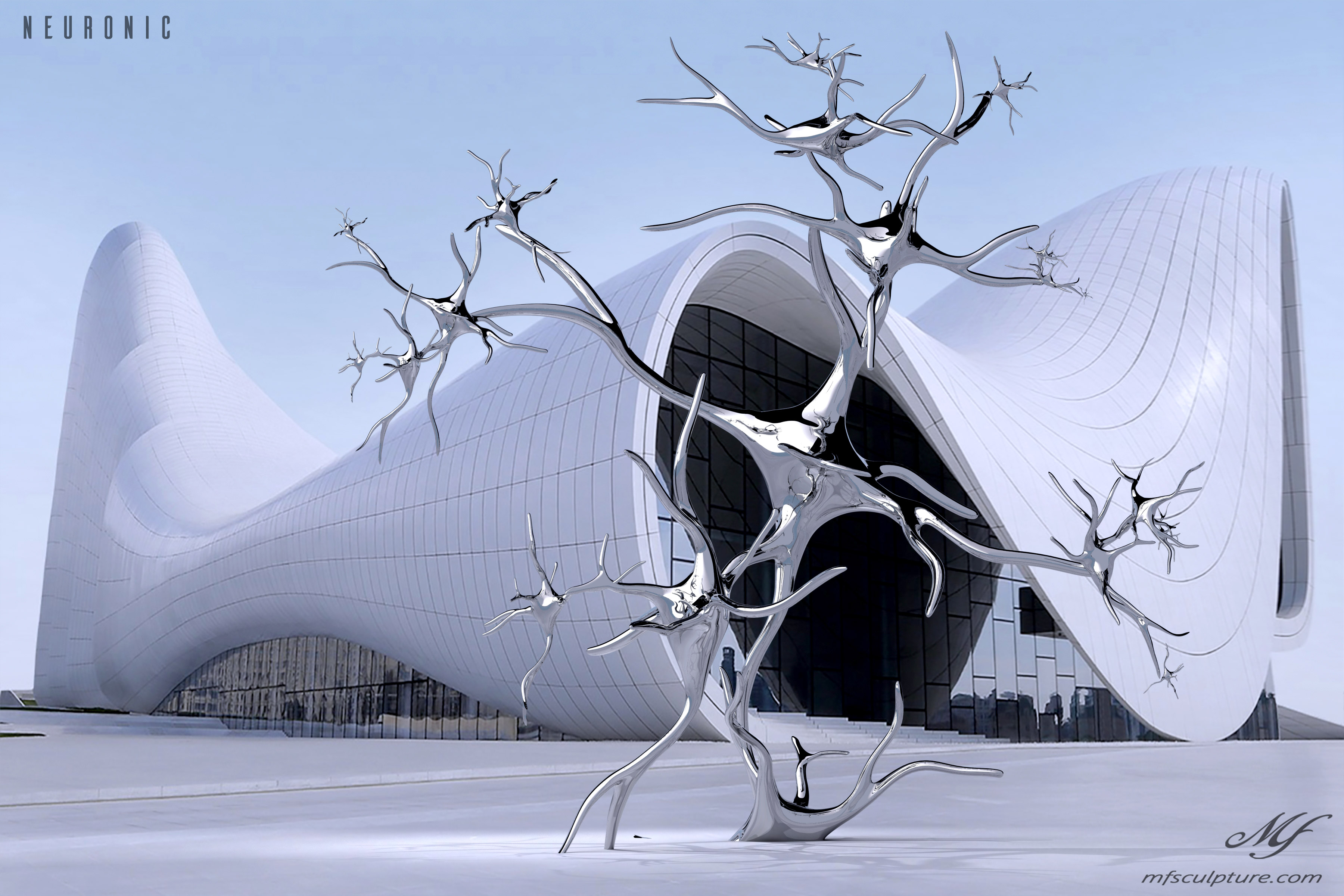 heydar aliyev center baku zaha hadid Modern Sculpture Neuronic Neuron Brain 1
