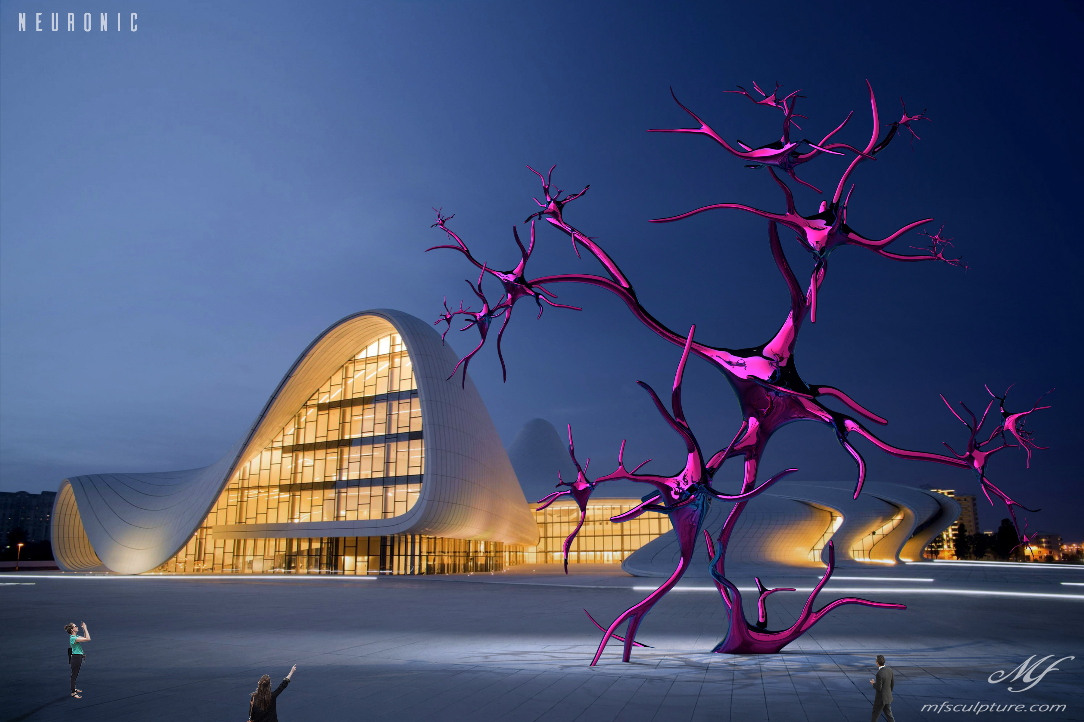 heydar aliyev center baku zaha hadid Modern Sculpture Neuronic Neuron Brain 3