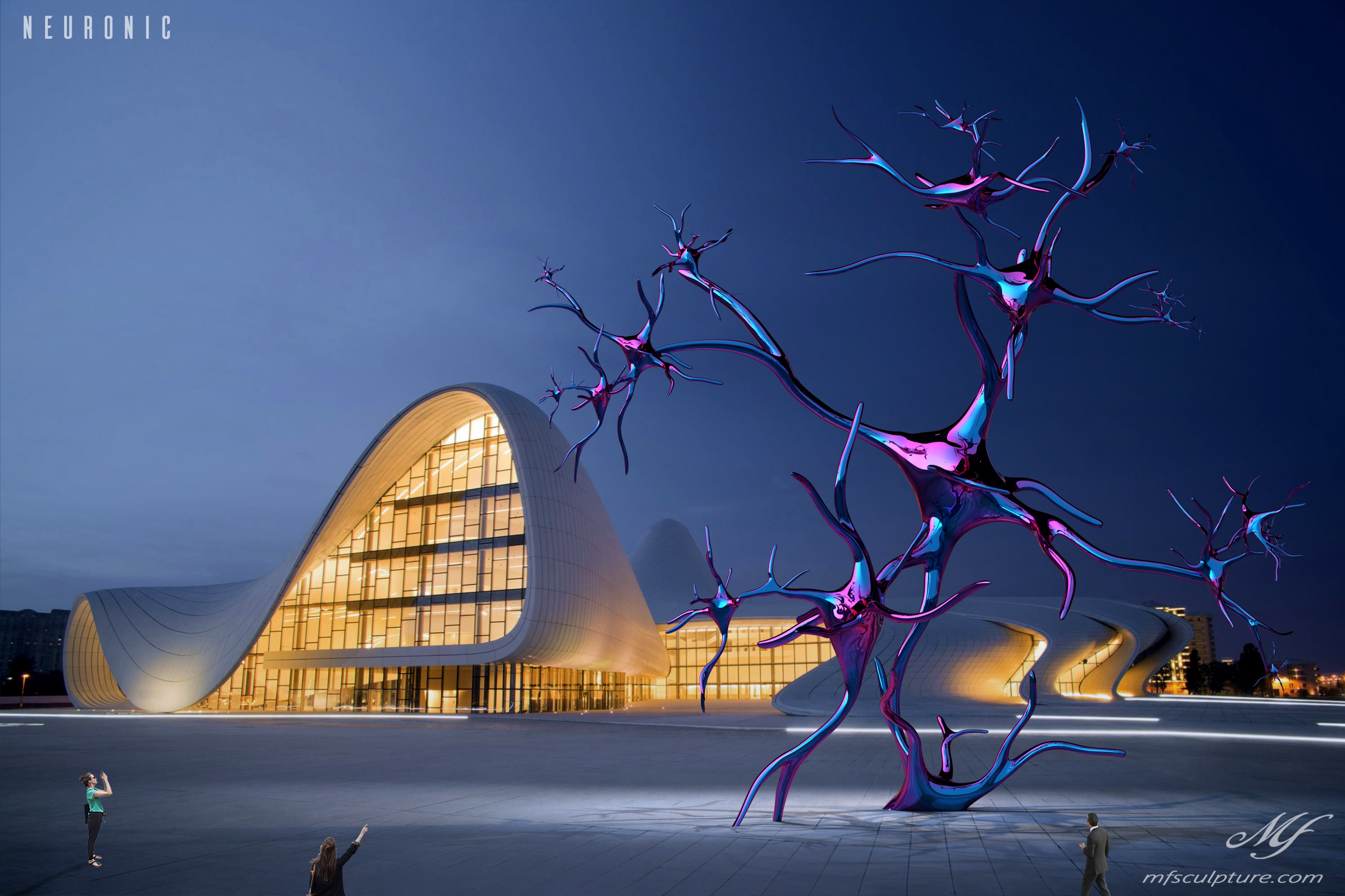 heydar aliyev center baku zaha hadid Modern Sculpture Neuronic Neuron Brain 4