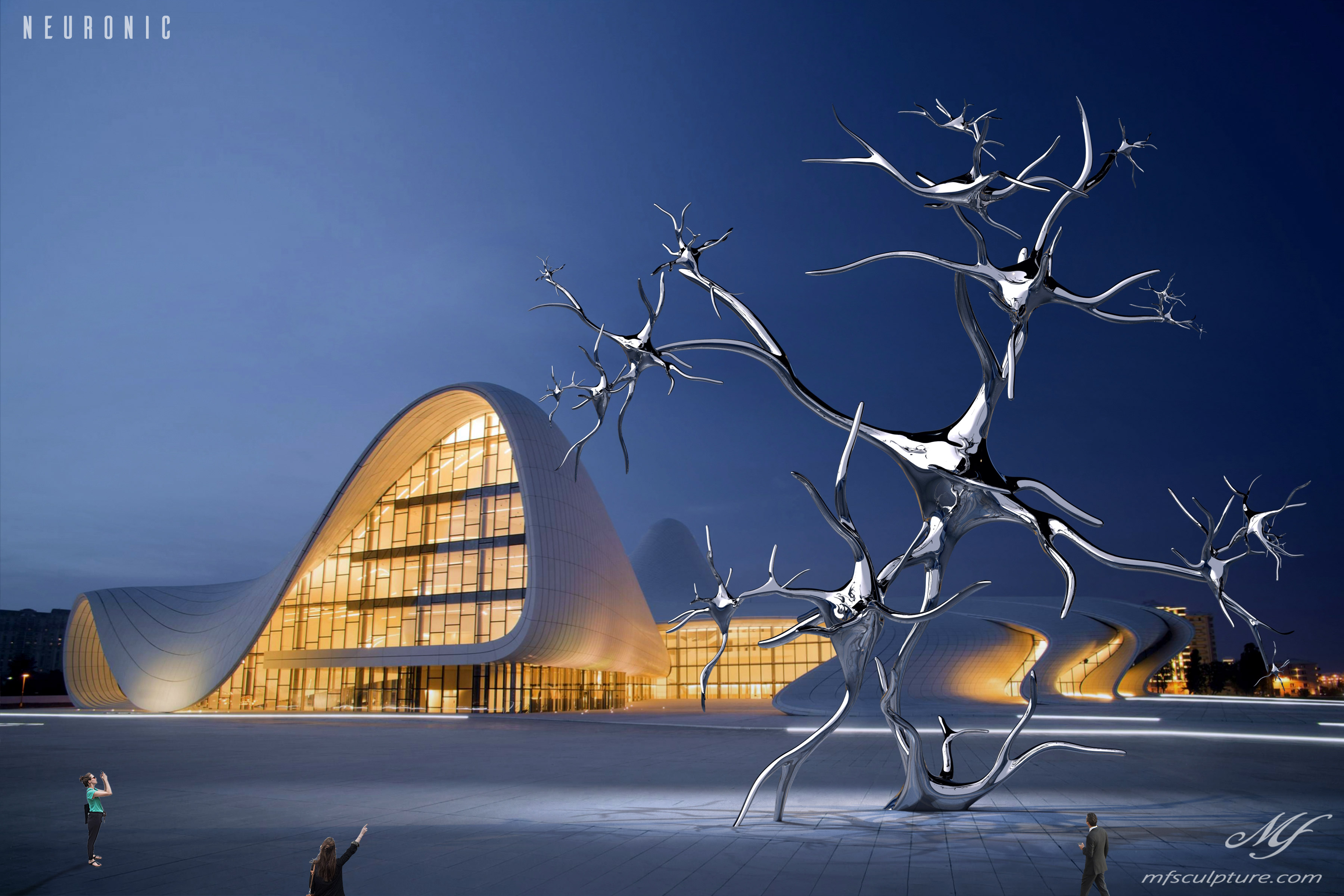 heydar aliyev center baku zaha hadid Modern Sculpture Neuronic Neuron Brain 5