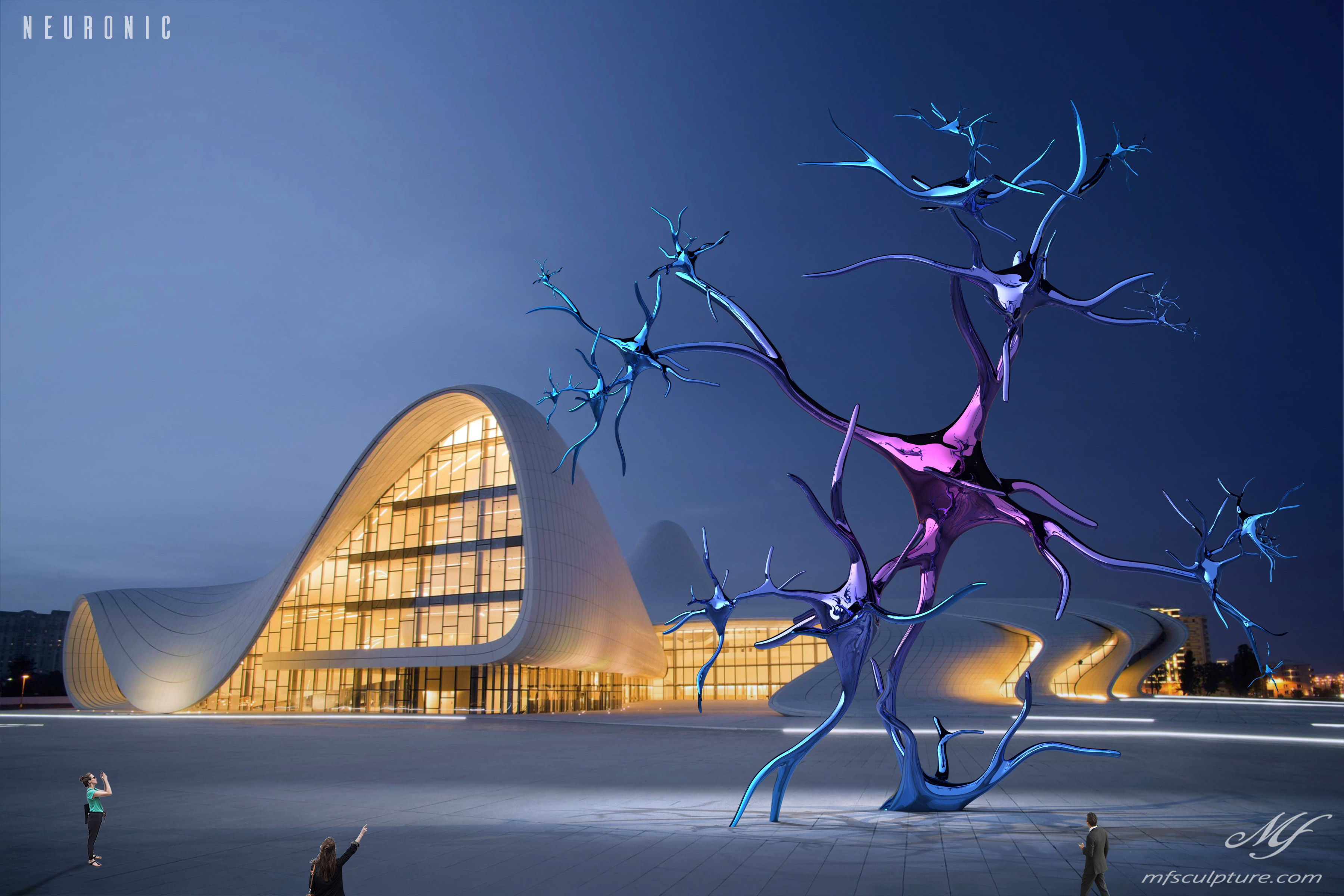 heydar aliyev center baku zaha hadid Modern Sculpture Neuronic Neuron Brain 6