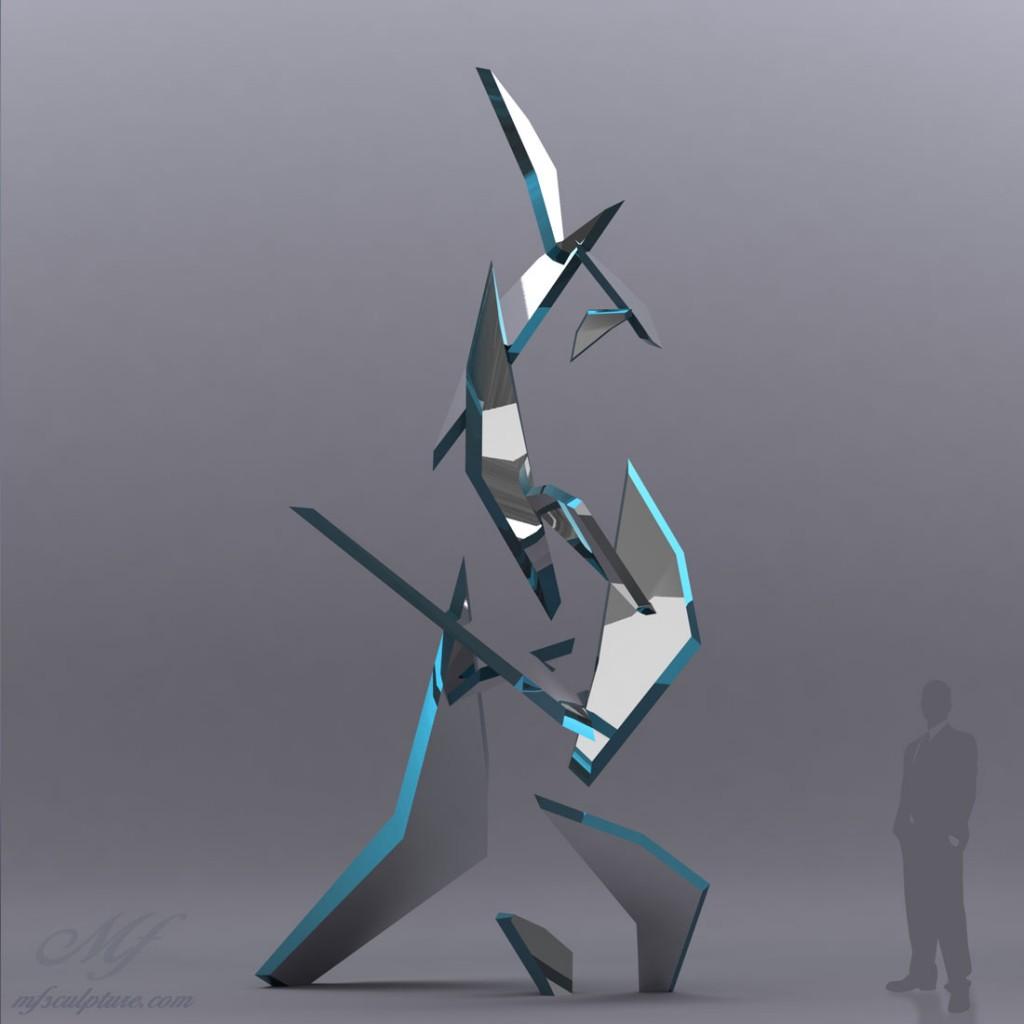 Fracture Modern Sculpture Corporate Art Shards Glass Public 3