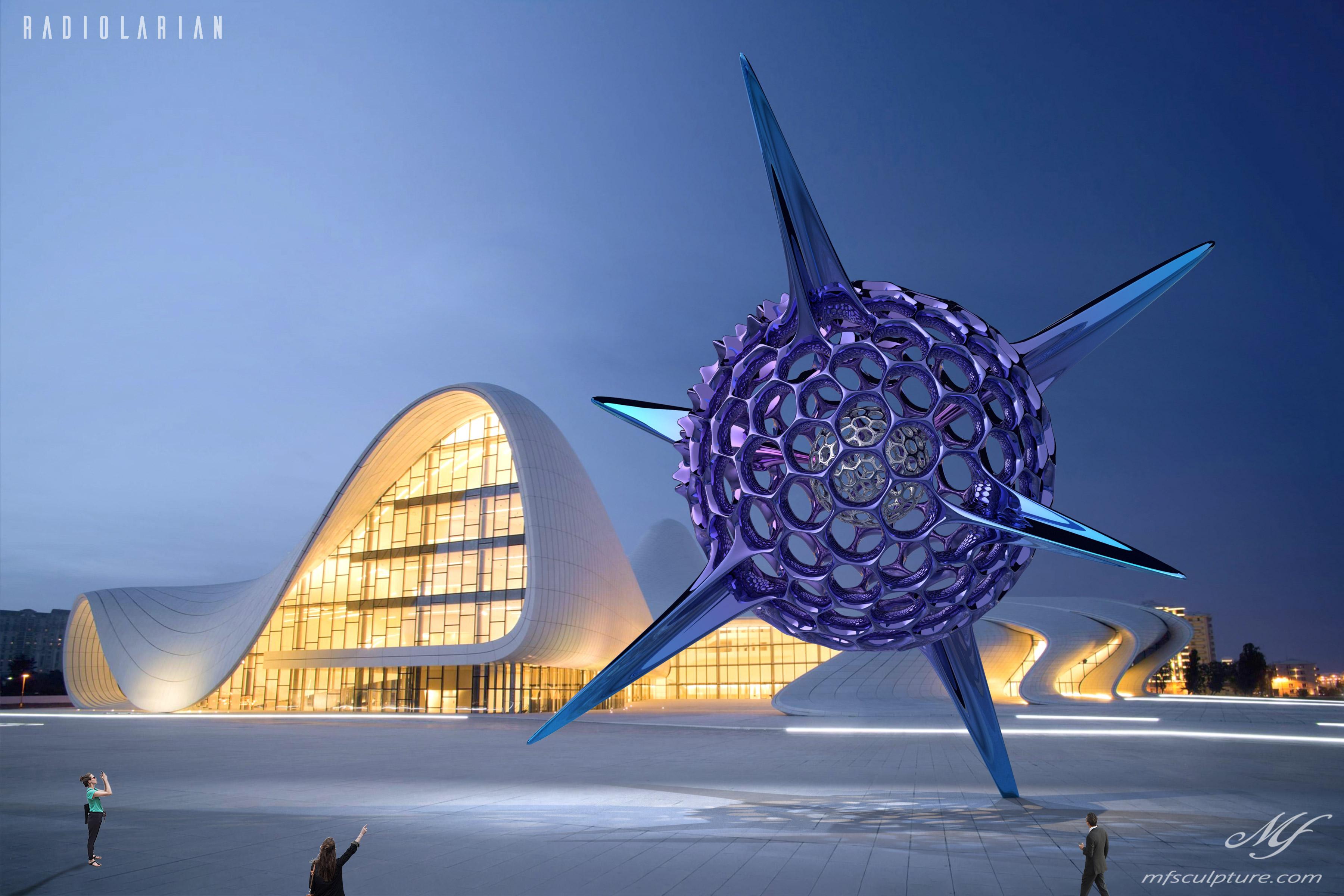 Heydar Aliyev Zaha Hadid Convergence Modern Sculpture Public Art Radiolarian Science Sea Creature 1