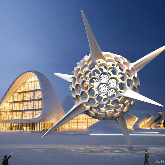 Heydar Aliyev Zaha Hadid Convergence Modern Sculpture Public Art Radiolarian Science Sea Creature 12
