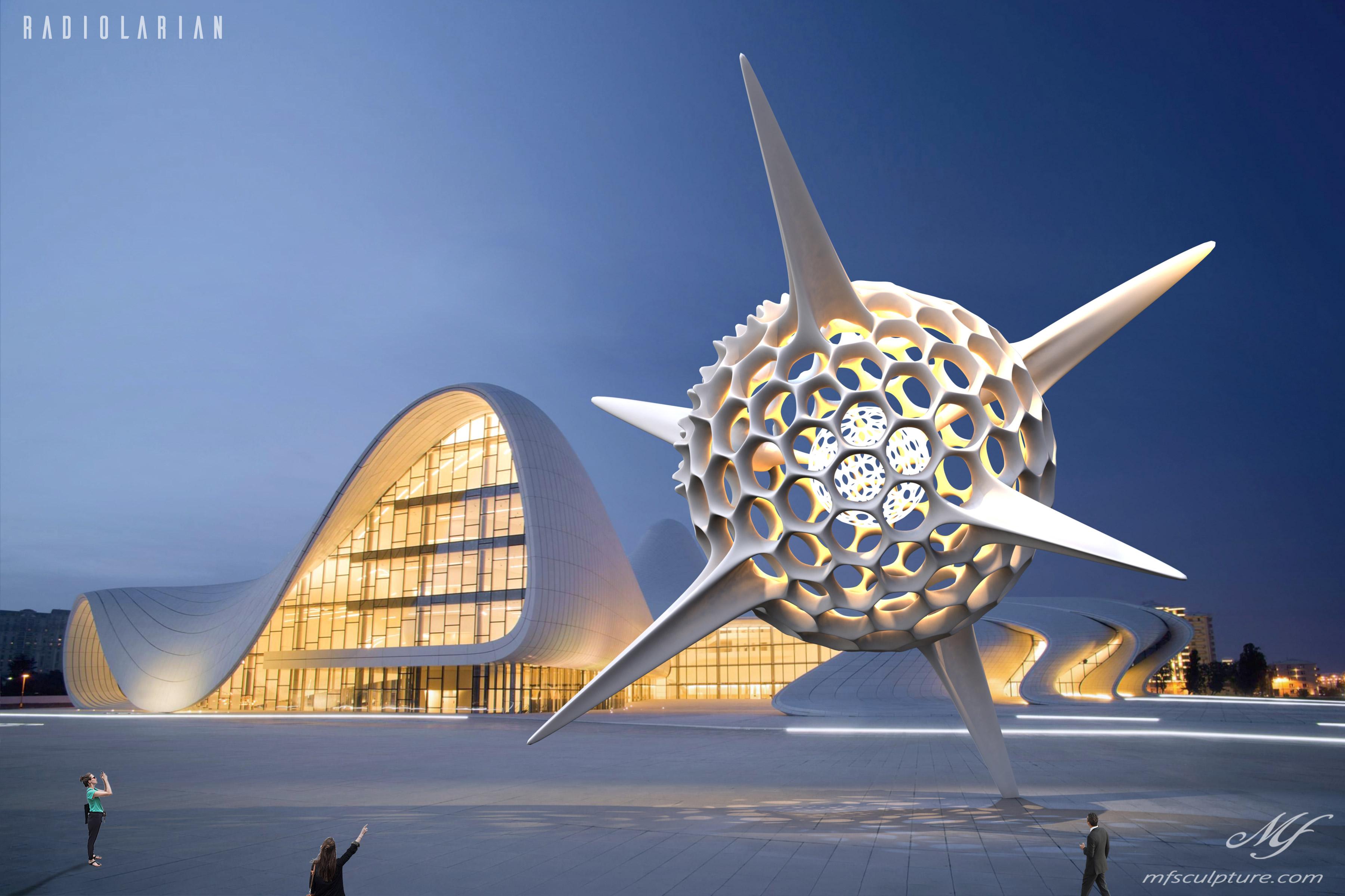 Heydar Aliyev Zaha Hadid Convergence Modern Sculpture Public Art Radiolarian Science Sea Creature 2