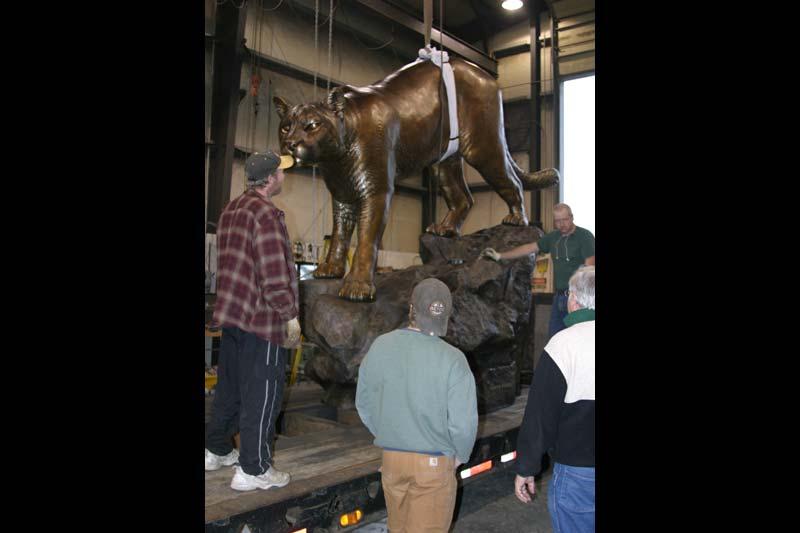 WSU Monument Mascot Installation 1