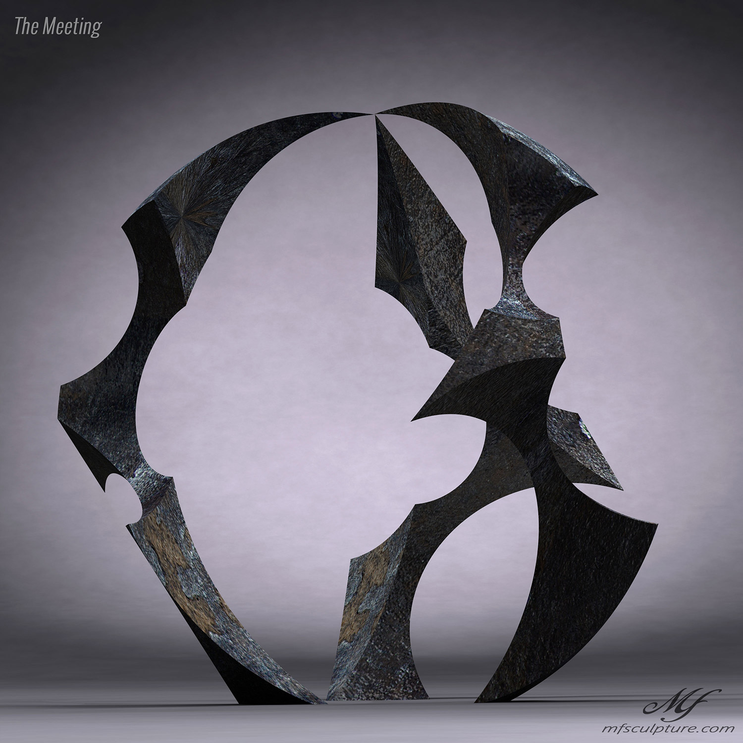Abstract Sculpture Bronze The Meeting 1