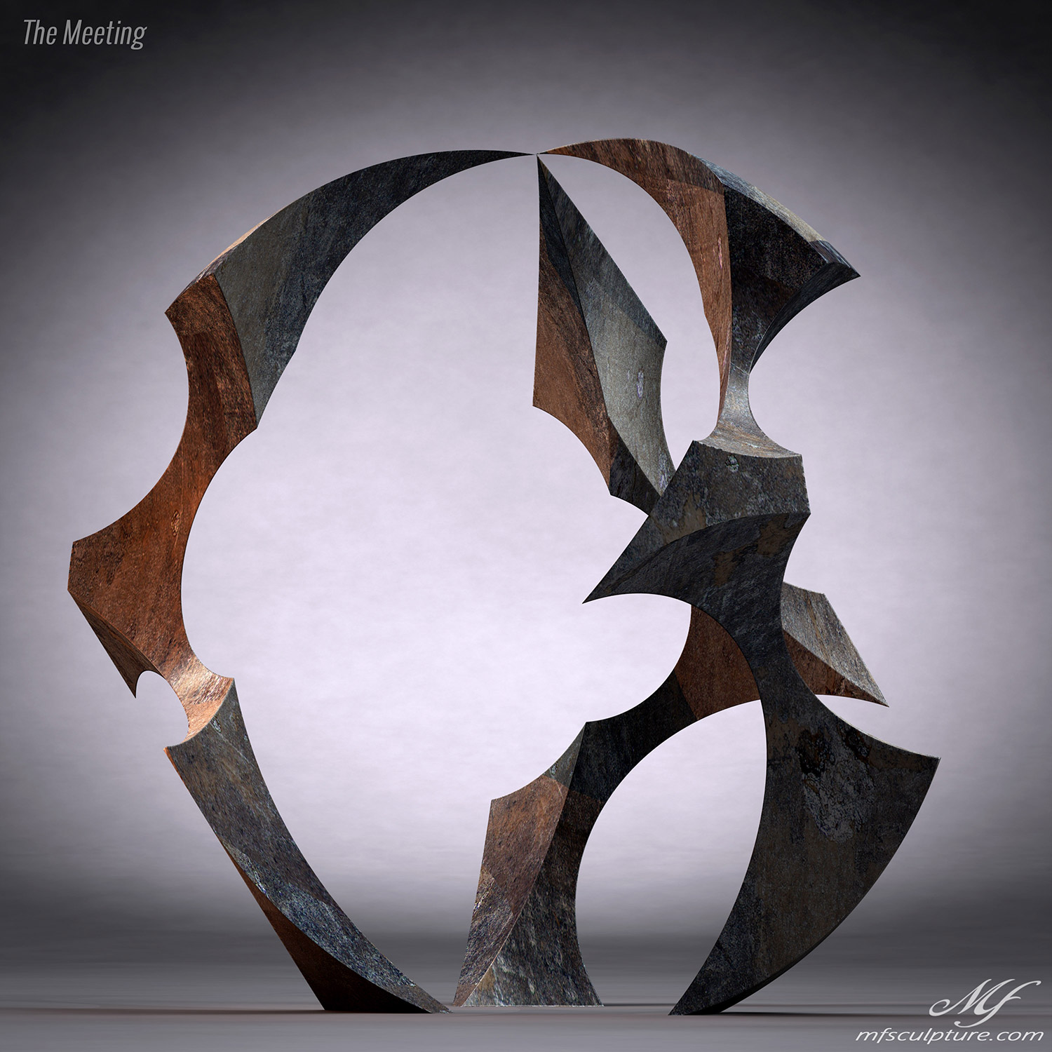 Abstract Sculpture Bronze The Meeting 3