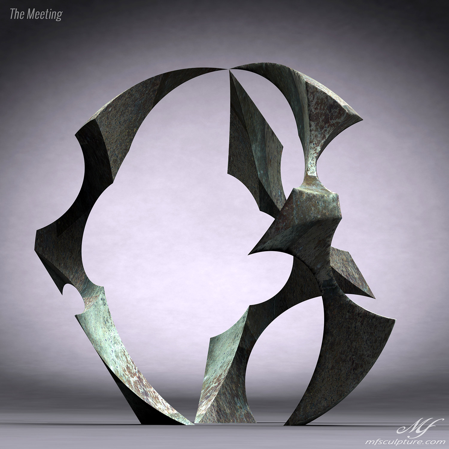 Abstract Sculpture Bronze The Meeting 4